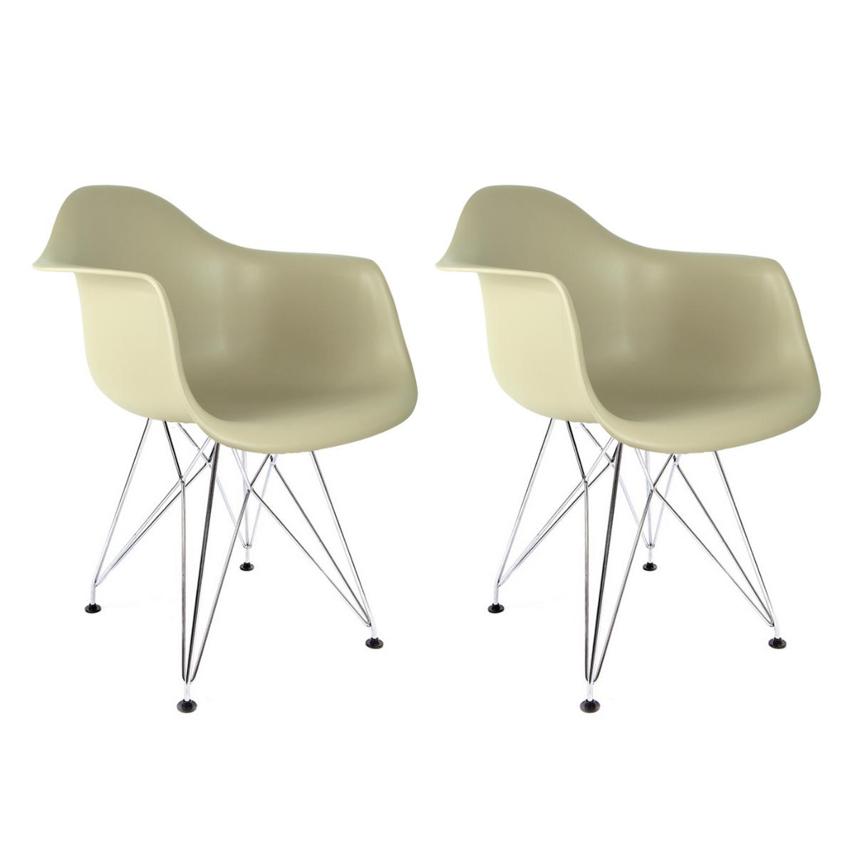 Conjunto com 2 Cadeiras Eames com Braços Fendi - Base Eiffel Cromada