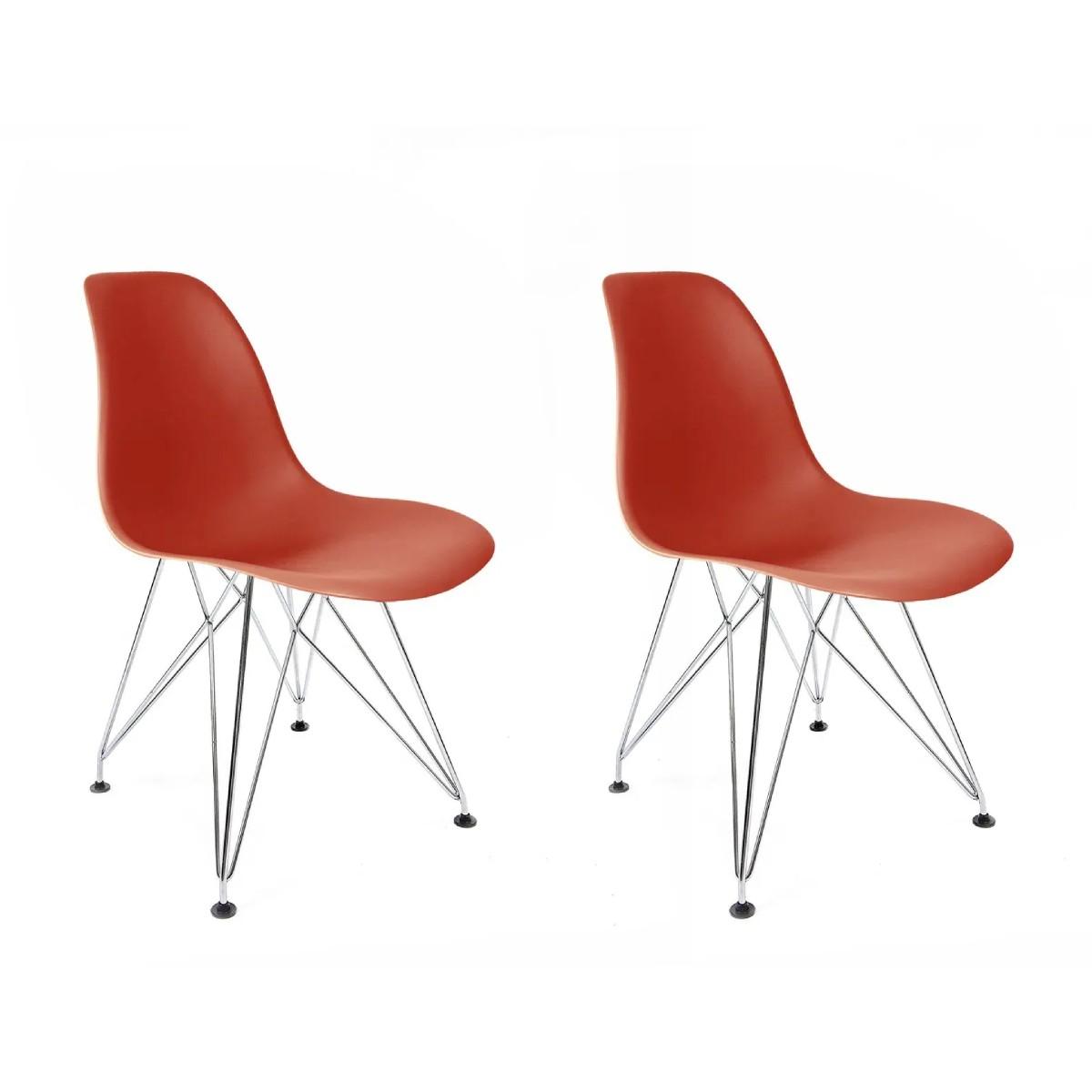 Conjunto com 2 Cadeiras Eames Coral - Base Eiffel Cromada
