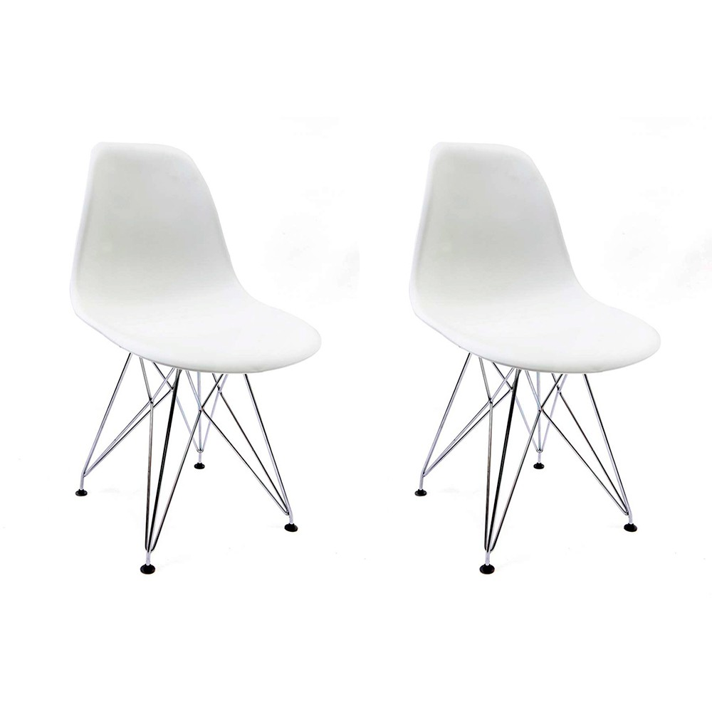 Conjunto com 2 Cadeiras Eames Branca - Base Eiffel Cromada