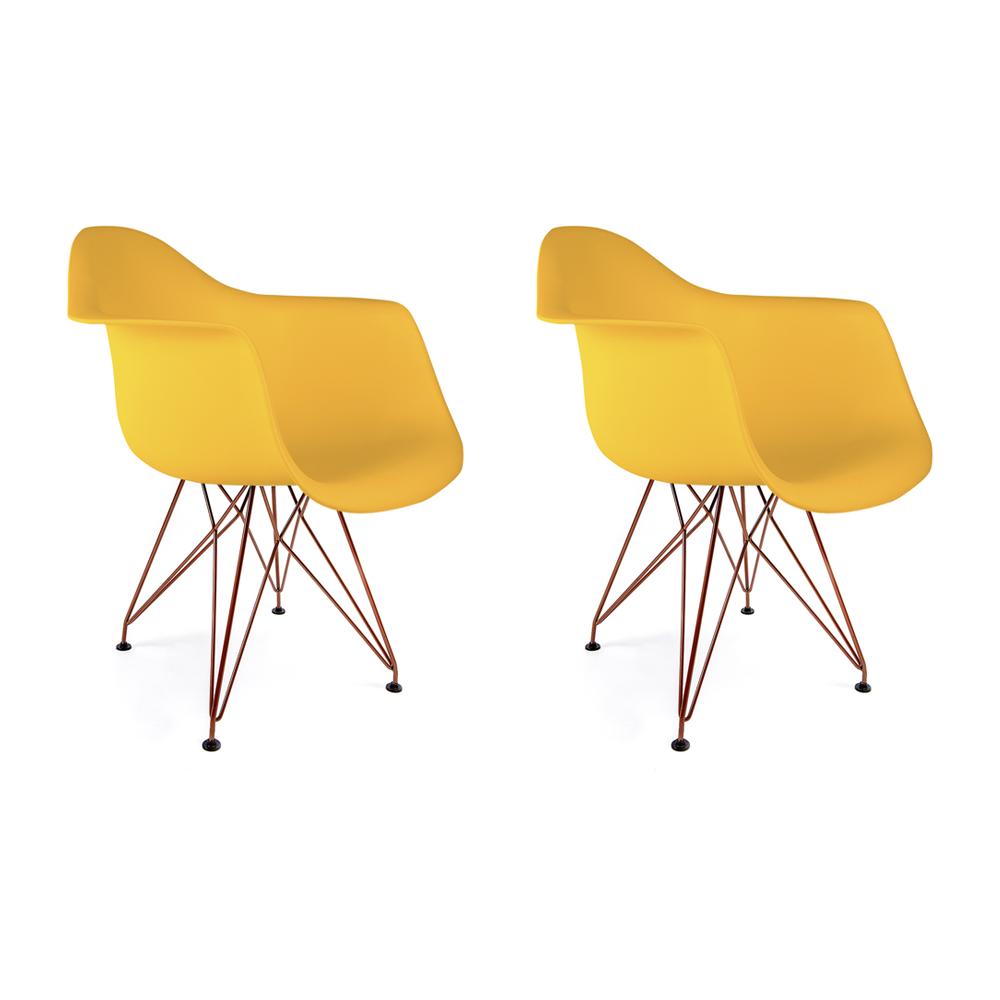 Conjunto com 2 Cadeiras Eames com Braços Amarela - Base Eiffel Cobre