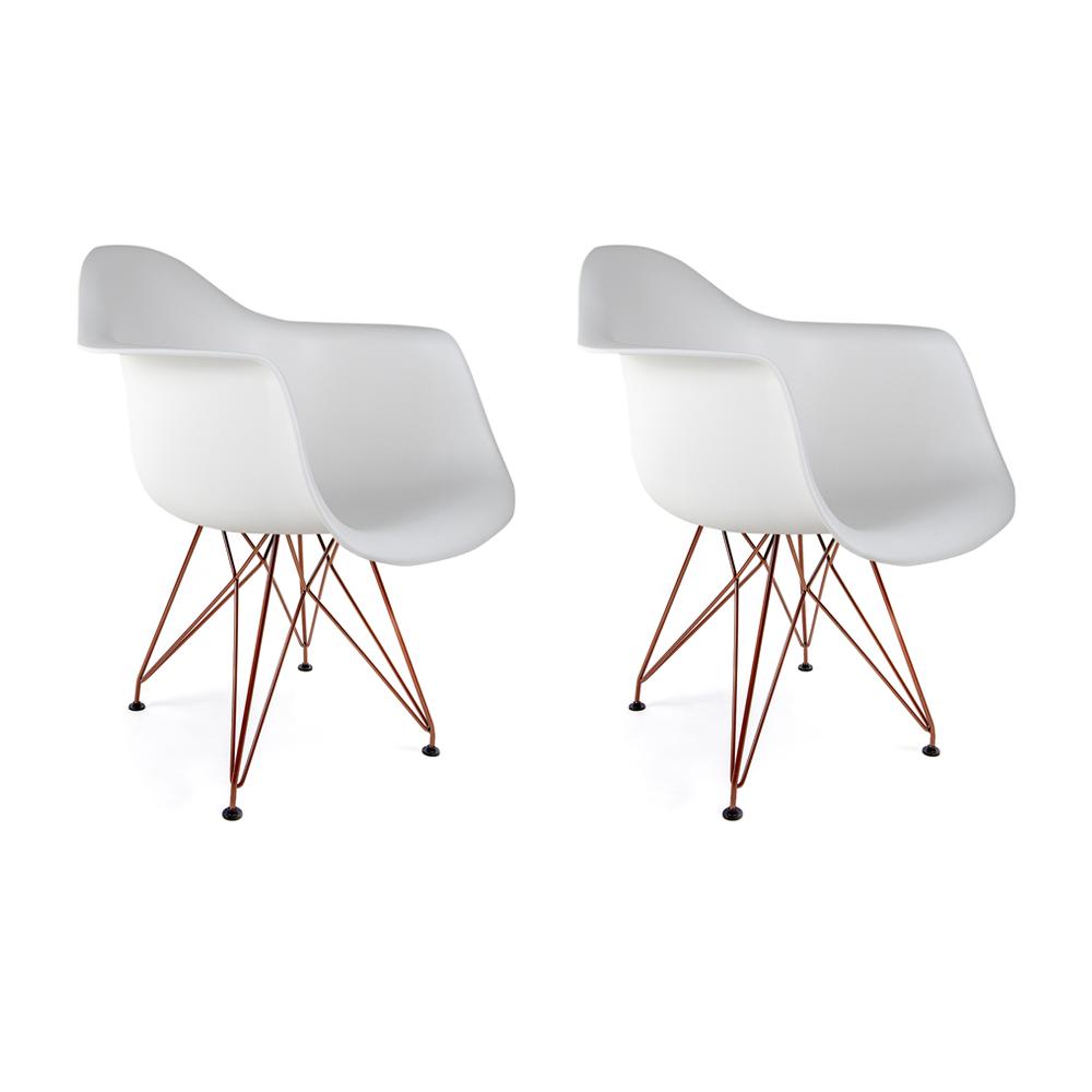 Conjunto com 2 Cadeiras Eames com Braços Branca - Base Eiffel Cobre