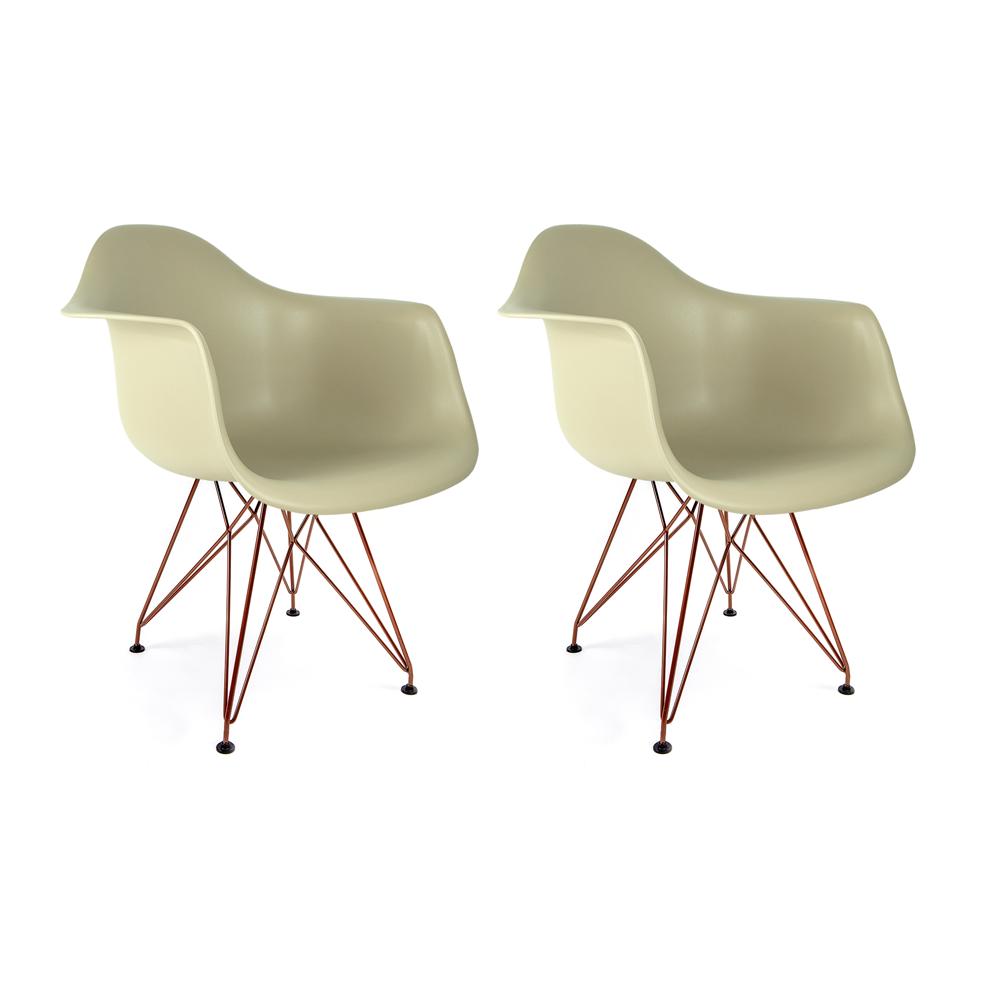 Conjunto com 2 Cadeiras Eames com Braços Fendi - Base Eiffel Cobre