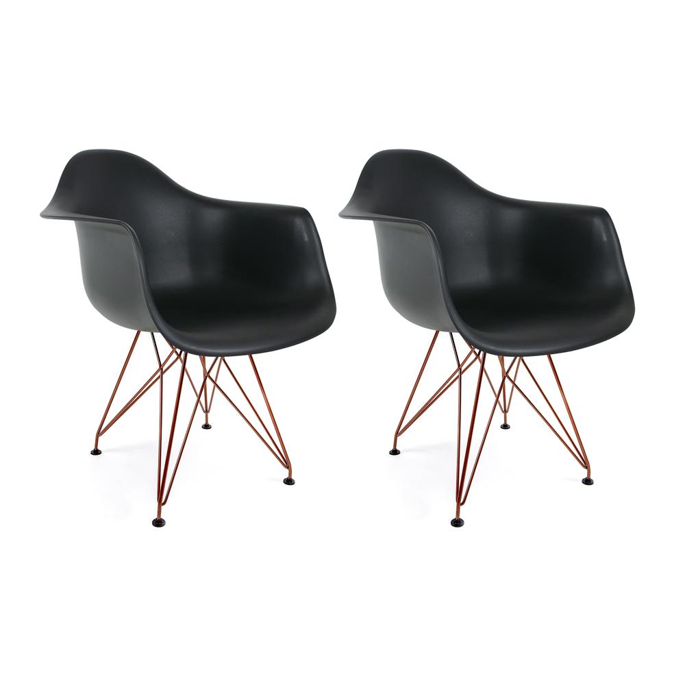 Conjunto com 2 Cadeiras Eames com Braços Preta - Base Eiffel Cobre