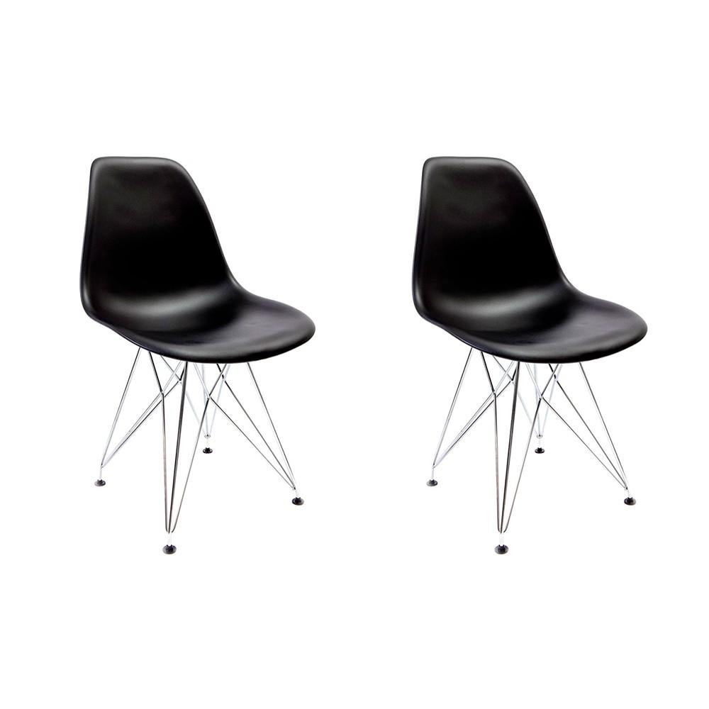 Conjunto com 2 Cadeiras Eames Preta - Base Eiffel Cromada