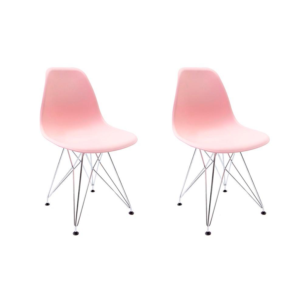 Conjunto com 2 Cadeiras Eames Rosa - Base Eiffel Cromada