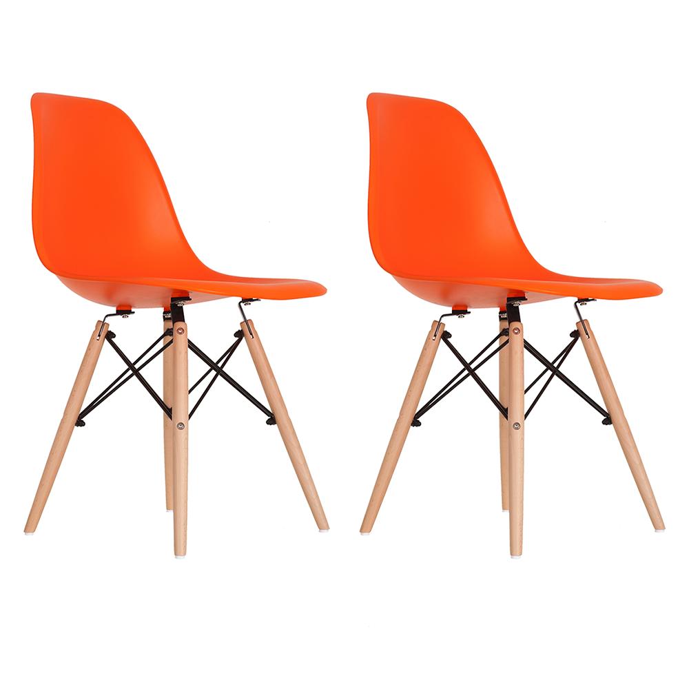 Conjunto com 2 Cadeiras Eames Laranja - Base Madeira Natural