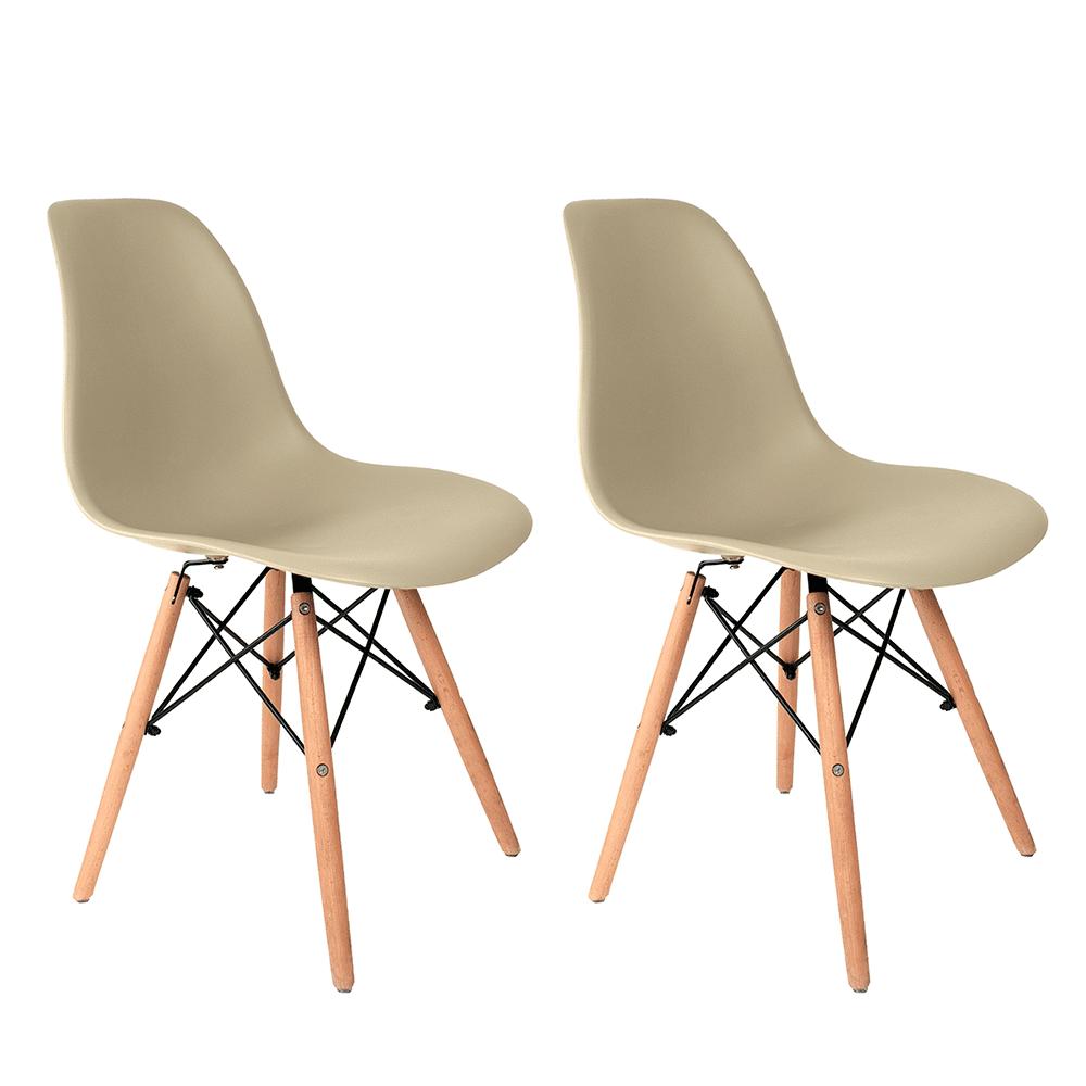 Conjunto com 2 Cadeiras Eames Fendi - Base Madeira Natural