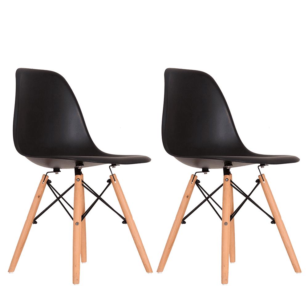 Conjunto com 2 Cadeiras Eames Preta - Base Madeira Natural