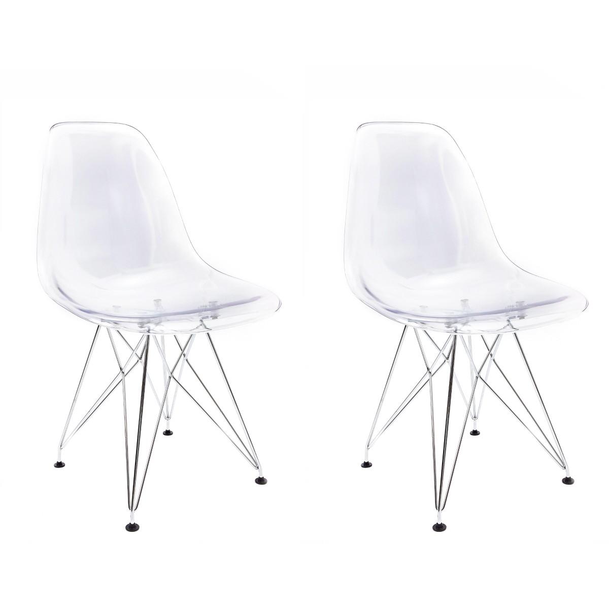 Conjunto com 2 Cadeiras Eames Transparente - Base Eiffel Cromada