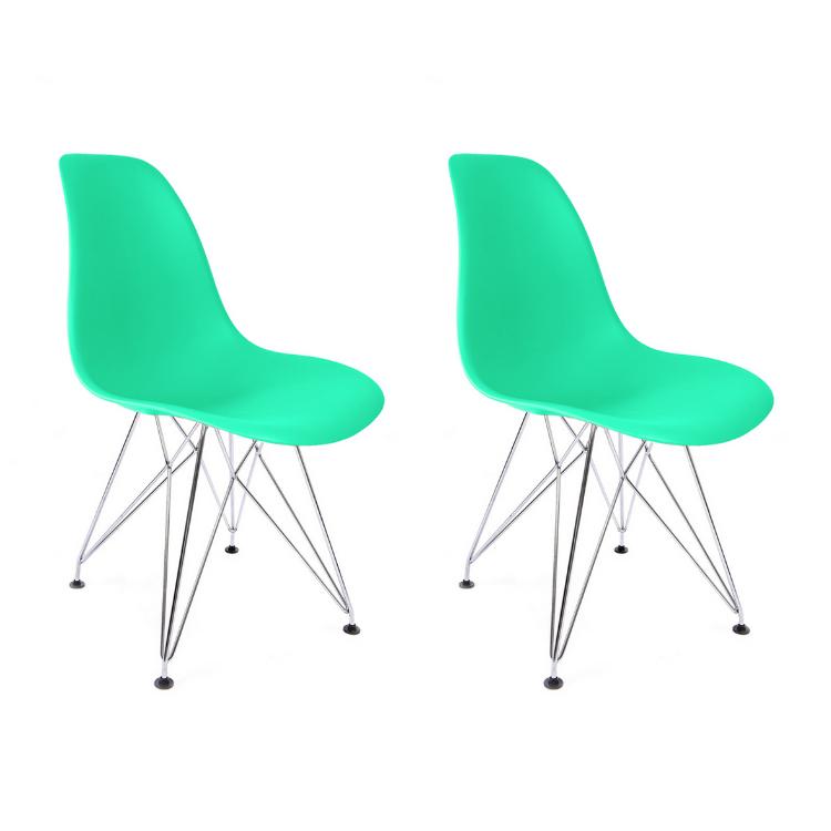 Conjunto com 2 Cadeiras Eames Verde Tiffany - Base Eiffel Cromada