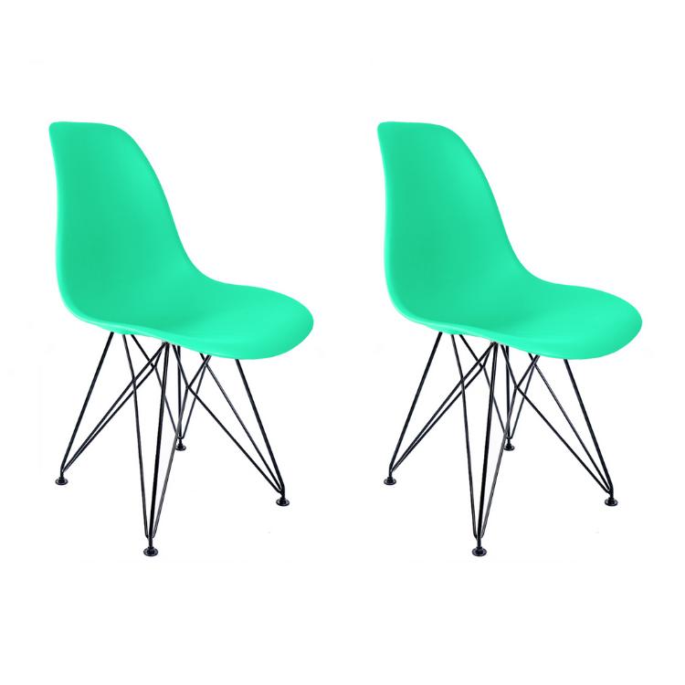 Conjunto com 2 Cadeiras Eames Verde Tiffany -  Base Eiffel Preta