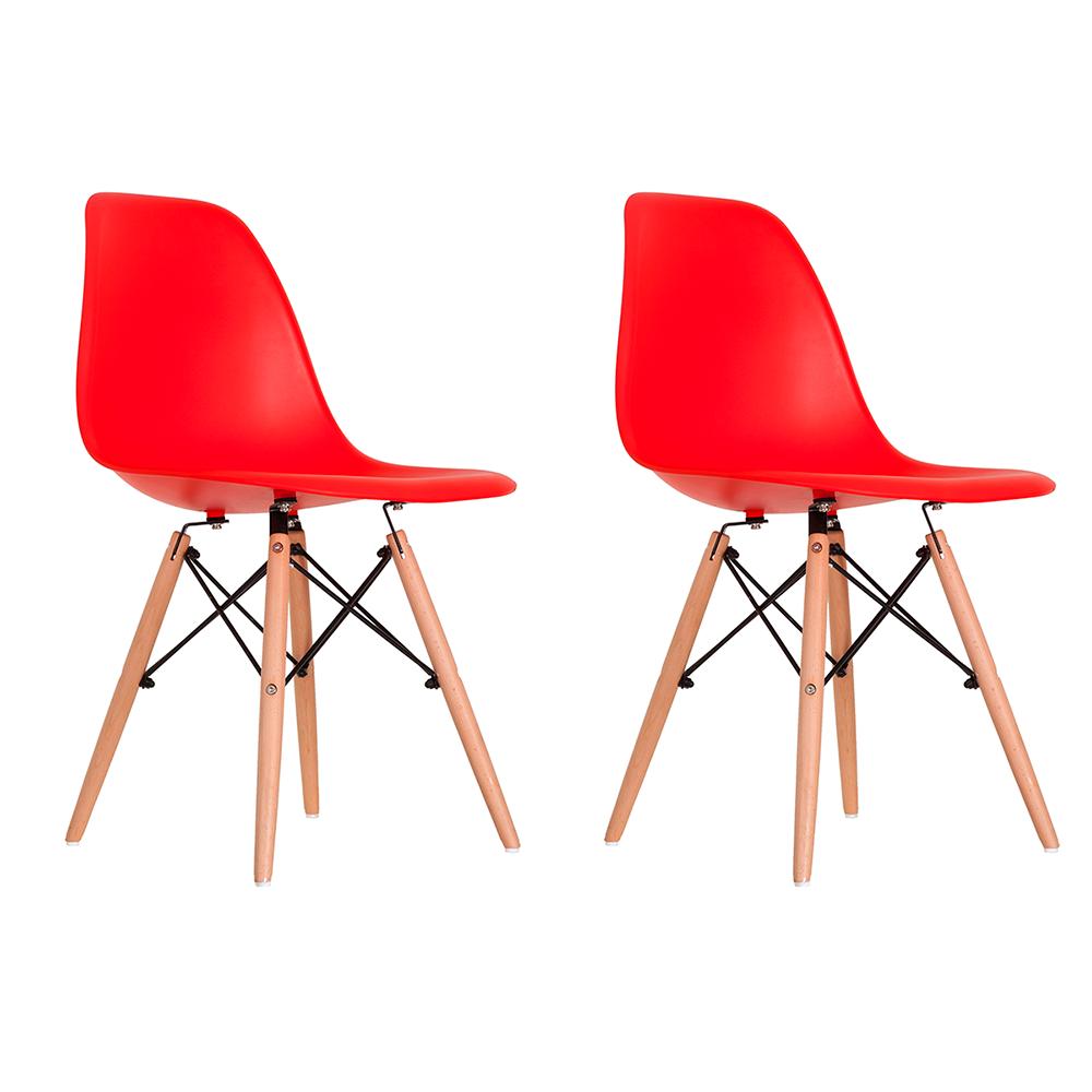 Conjunto com 2 Cadeiras Eames Vermelha - Base Madeira Natural