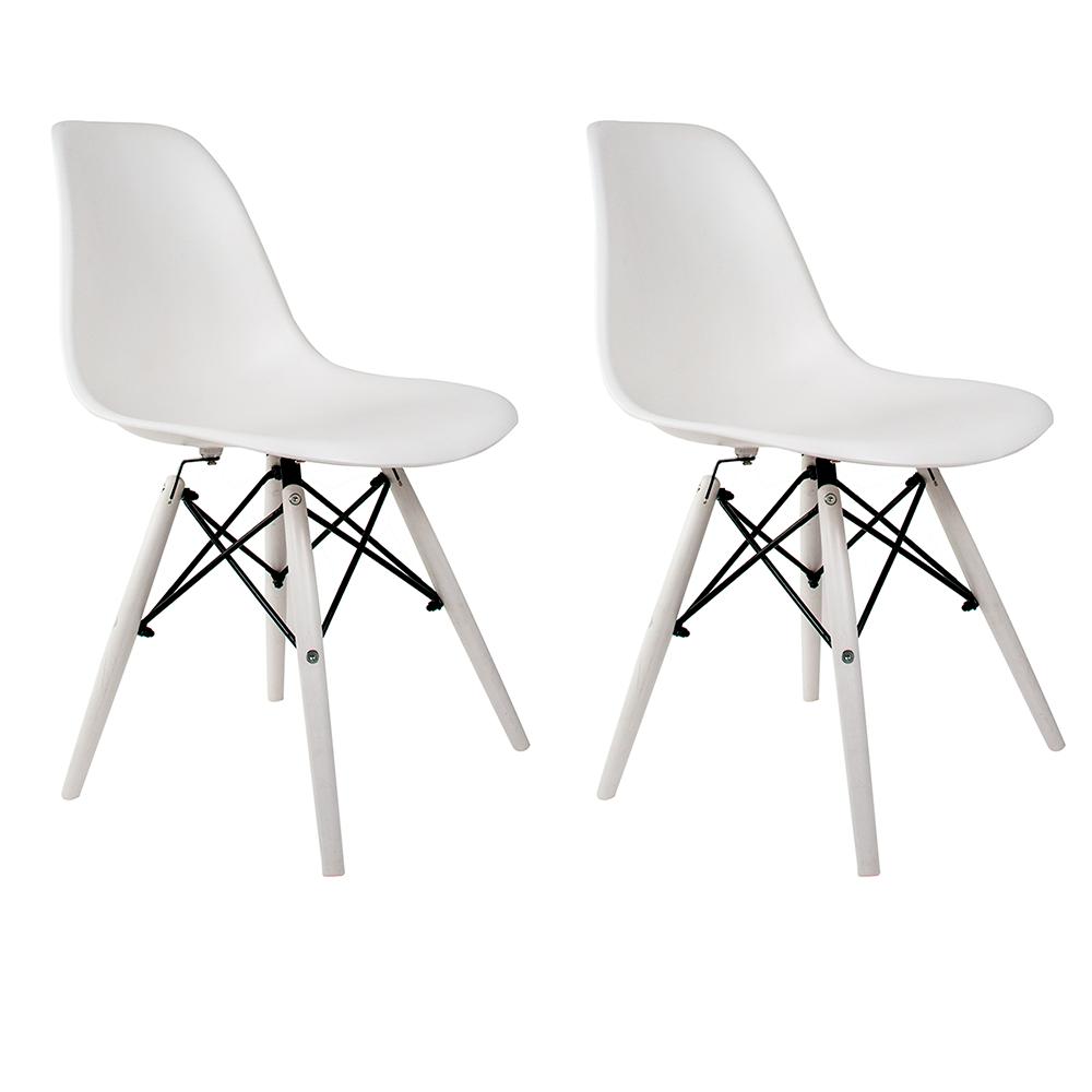 Conjunto com 2 Cadeiras Eames White Edition - Base Branca Polipropileno