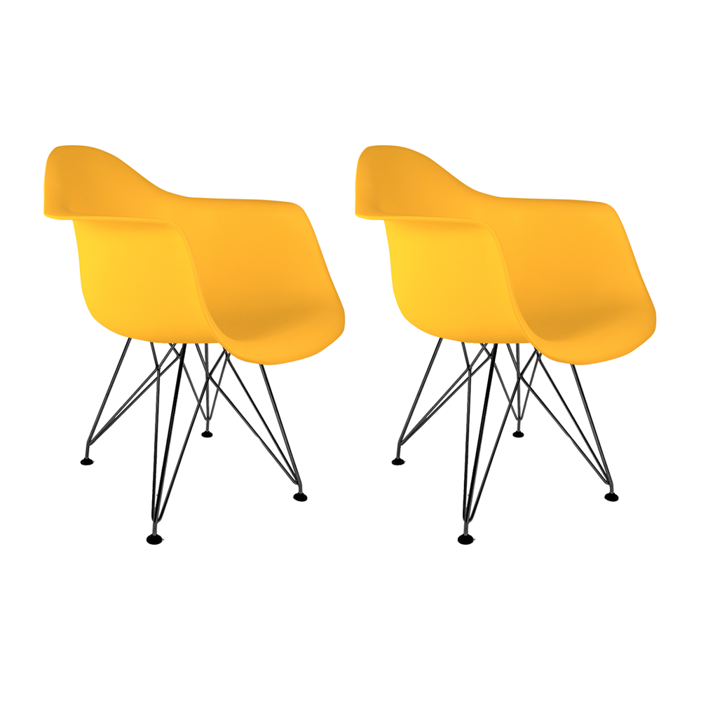 Conjunto com 2 Cadeiras Eames com Braços Amarela - Base Eiffel Preta