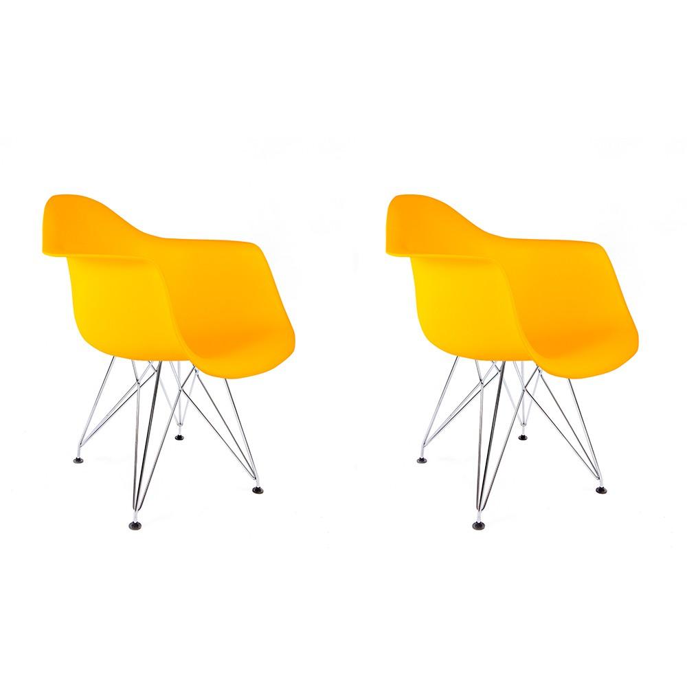 Conjunto com 2 Cadeiras Eames com Braços Amarela - Base Eiffel Cromado