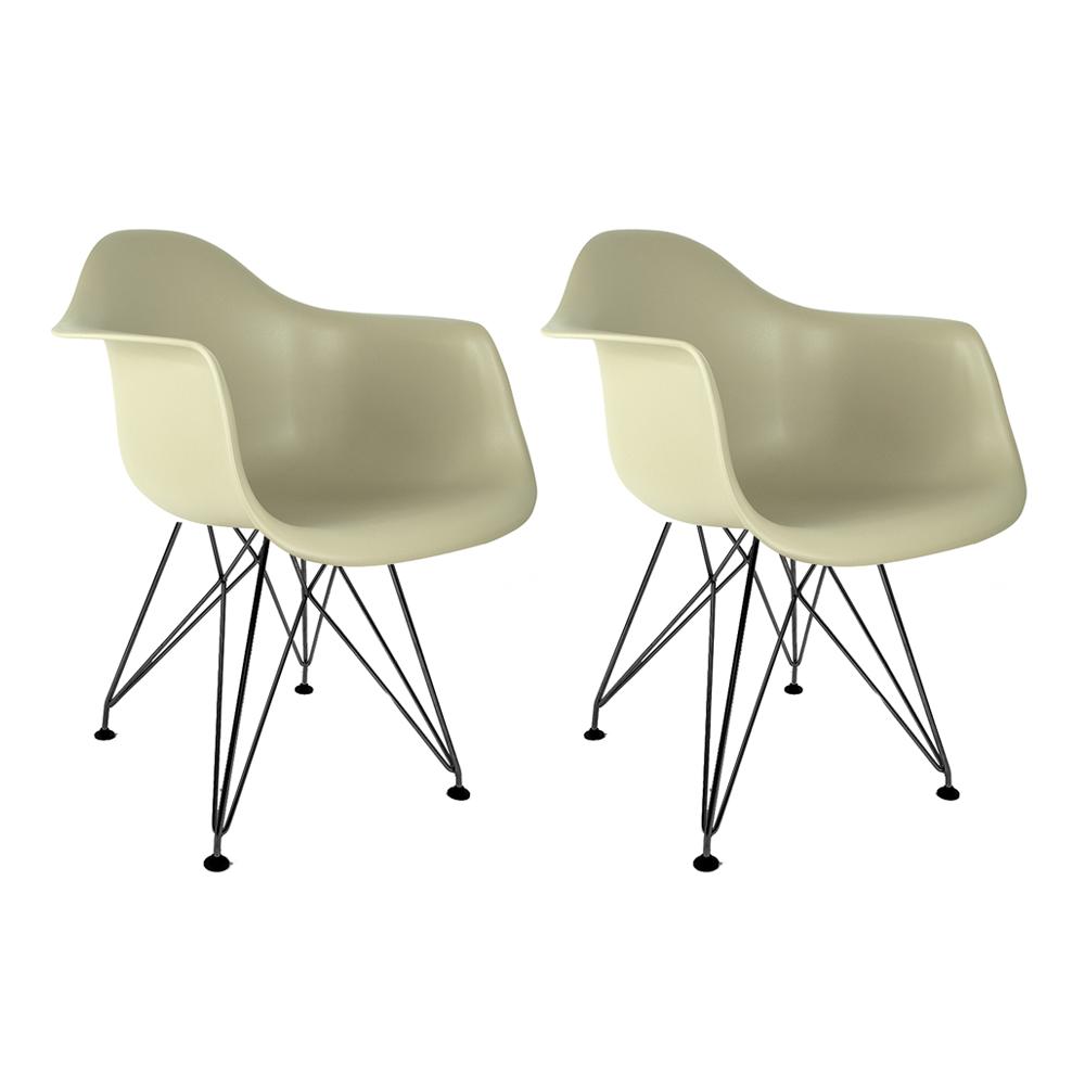 Conjunto com 2 Cadeiras Eames com Braços Fendi - Base Eiffel Preta