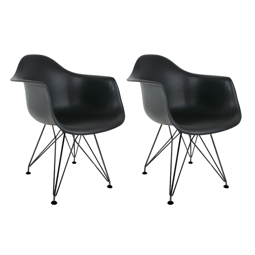 Conjunto com 2 Cadeiras Eames com Braços Preta - Base Eiffel Preta