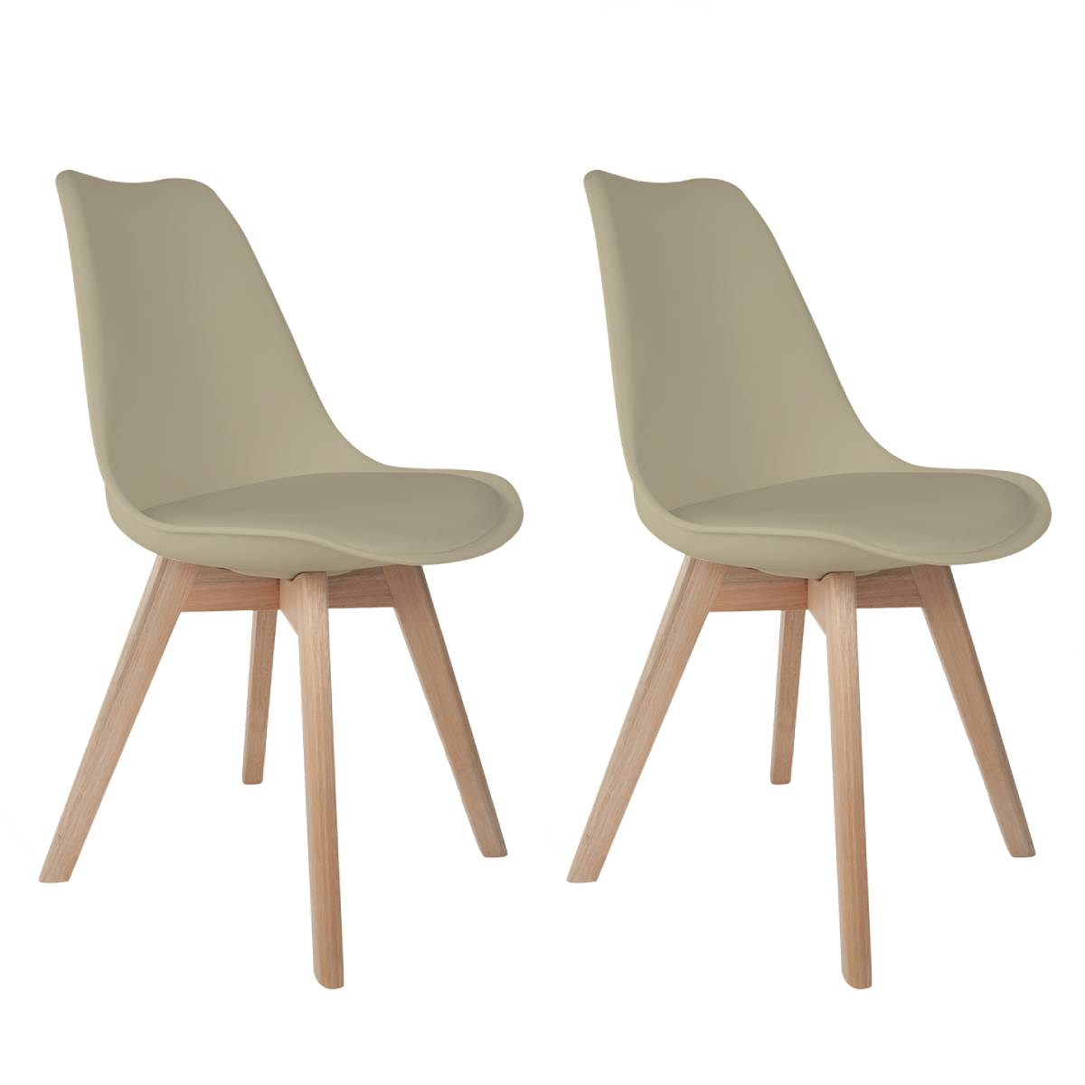Conjunto com 2 Cadeiras Saarinen Nude - Base Wood