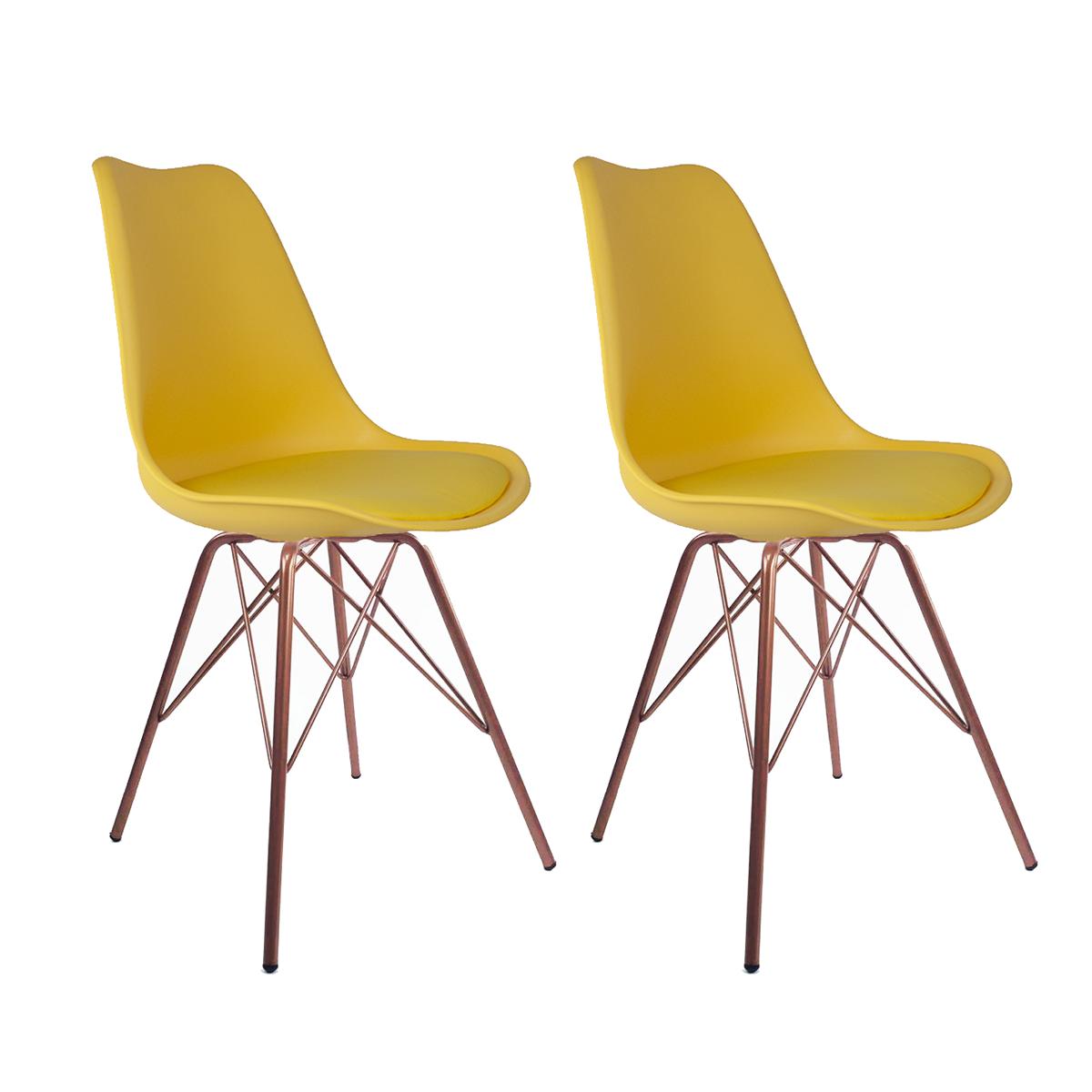 Conjunto com 2 Cadeiras Saarinen Amarela - Base Tower Cobre