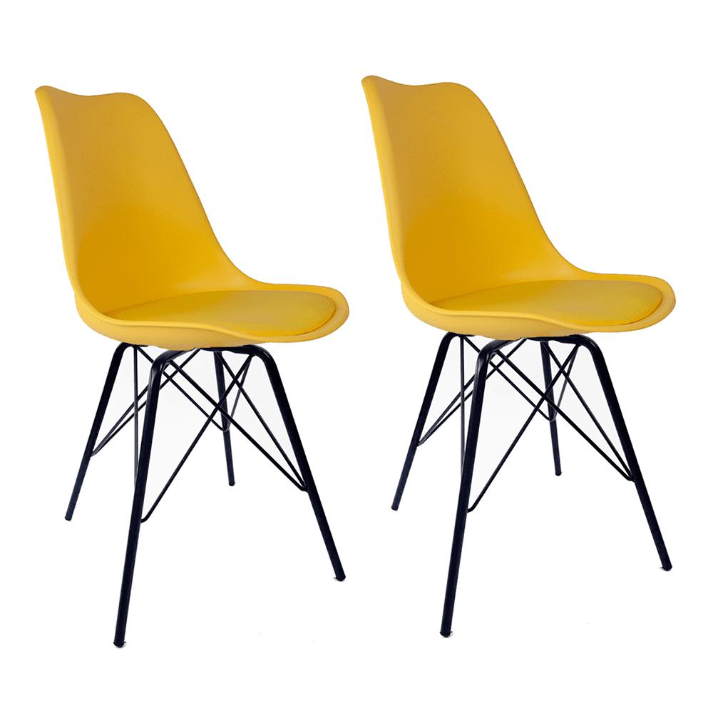Conjunto com 2 Cadeiras Saarinen Amarela - Base Tower Preto