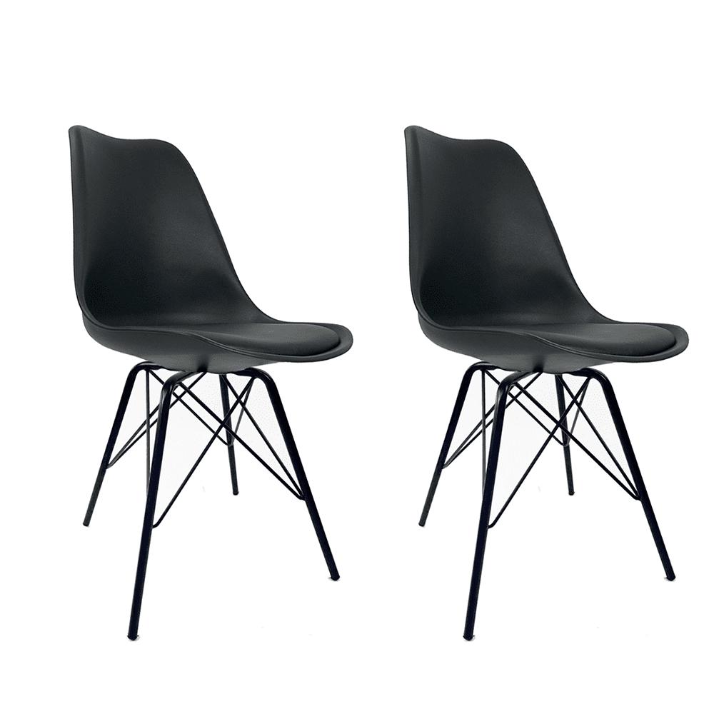 Conjunto com 2 Cadeiras Saarinen Black Edition - Base Tower Preta