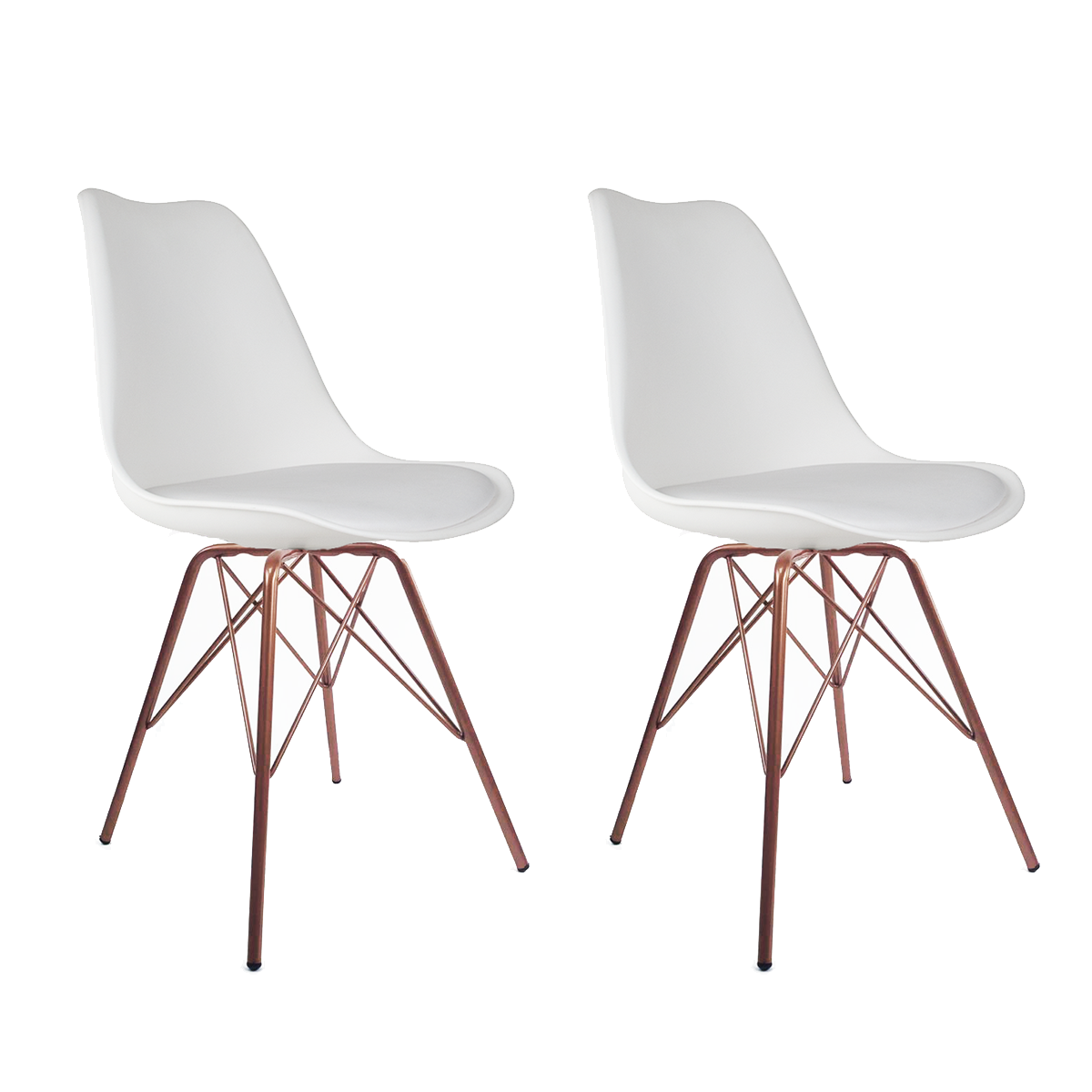 Conjunto com 2 Cadeiras Saarinen Branca - Base Tower Cobre