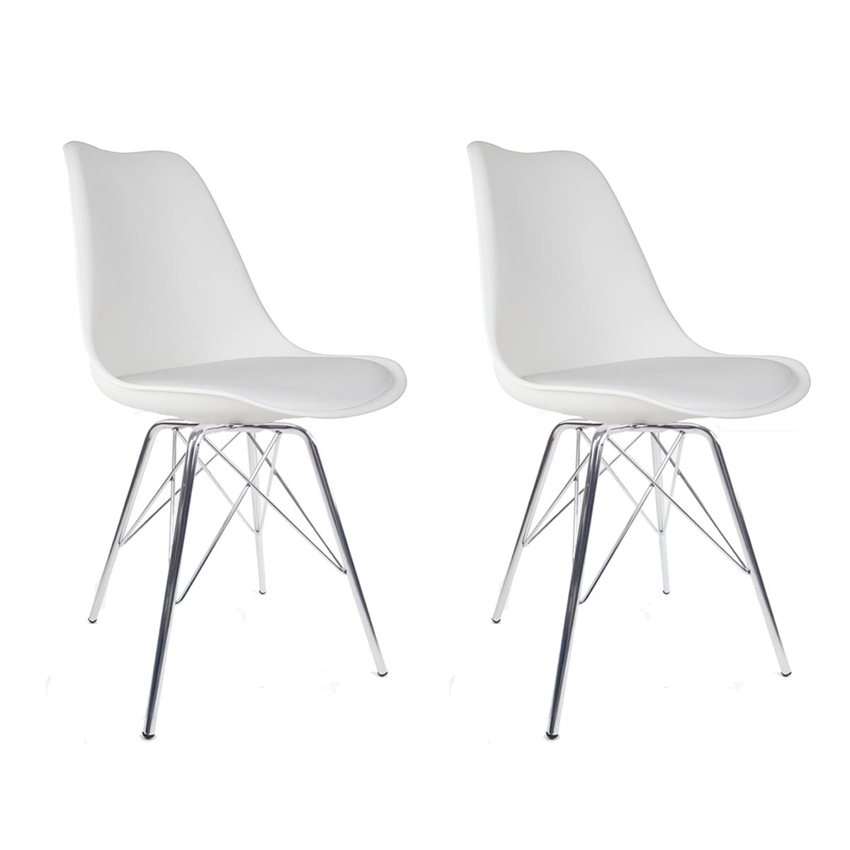 Conjunto com 2 Cadeiras Saarinen Branca - Base Tower Cromado