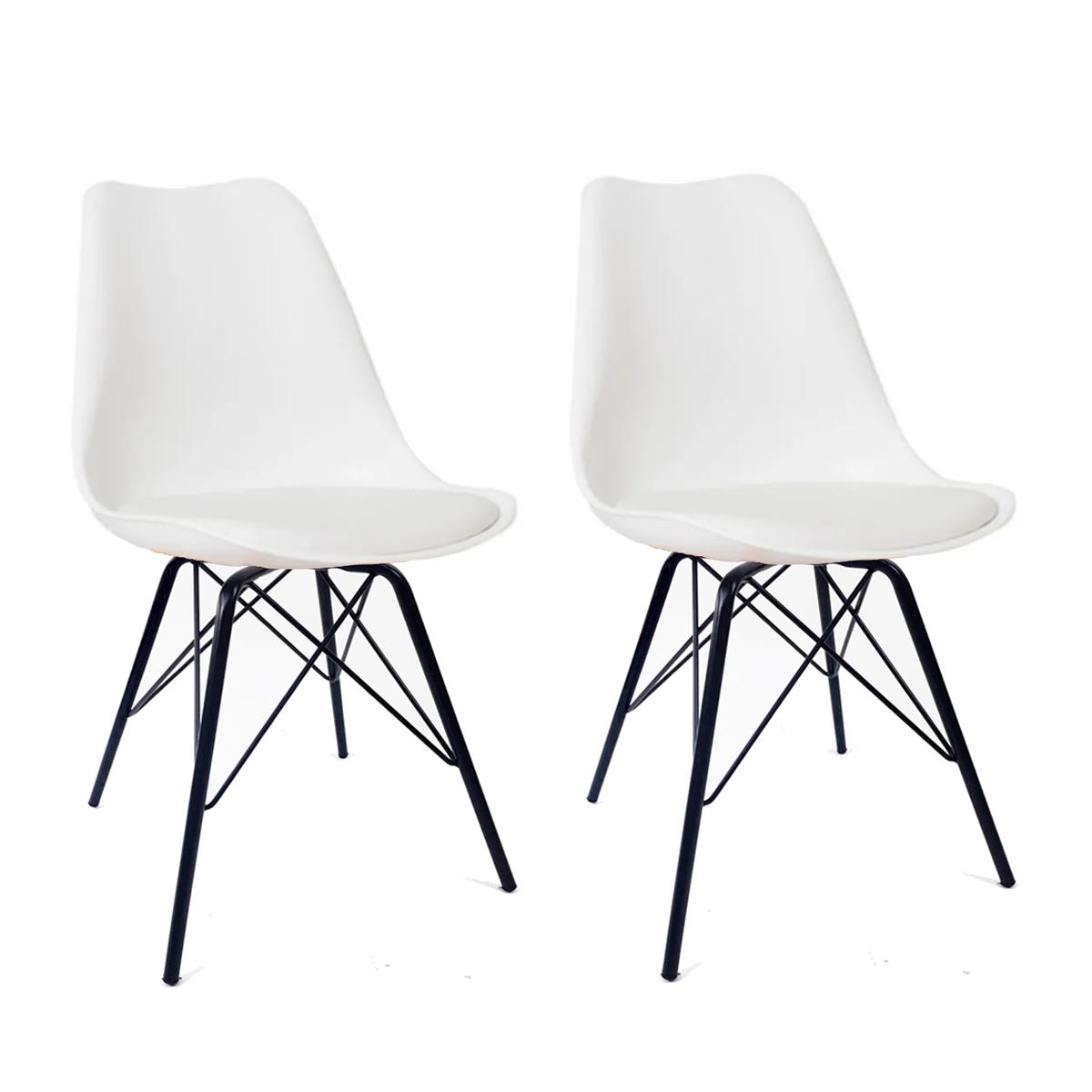 Conjunto com 2 Cadeiras Saarinen Branca - Base Tower Preto