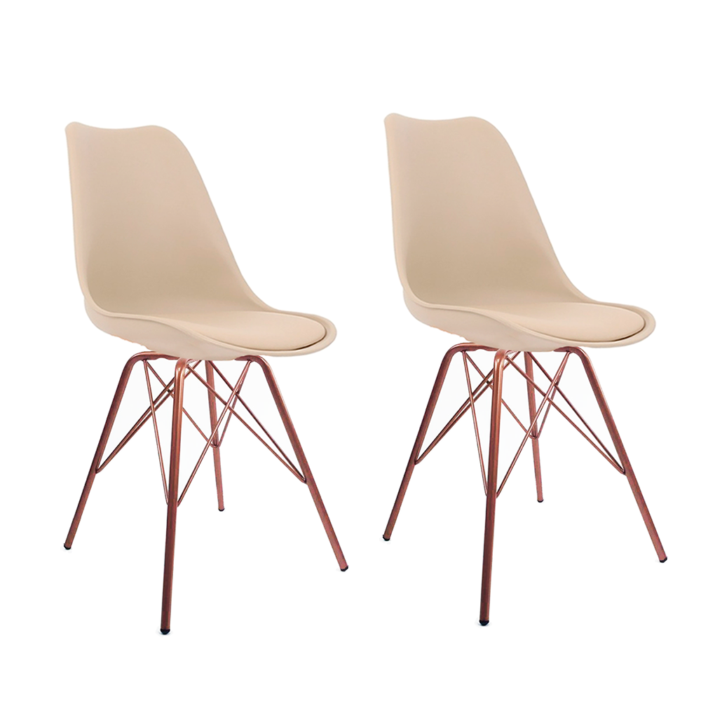 Conjunto com 2 Cadeiras Saarinen Nude - Base Tower Cobre