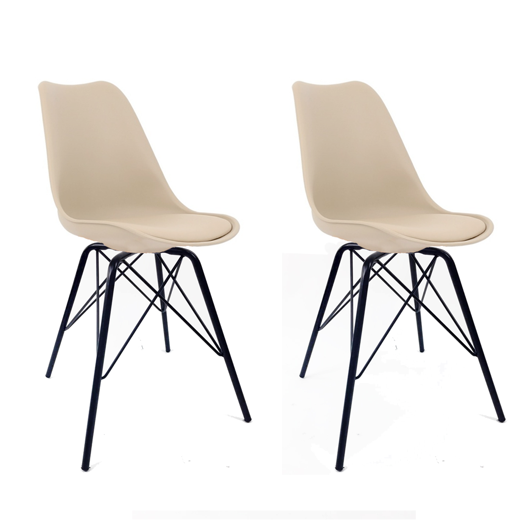 Conjunto com 2 Cadeiras Saarinen Nude - Base Tower Preto