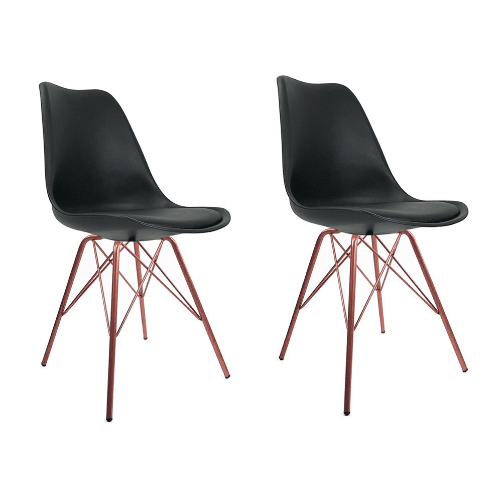 Conjunto com 2 Cadeiras Saarinen Preta - Base Tower Cobre
