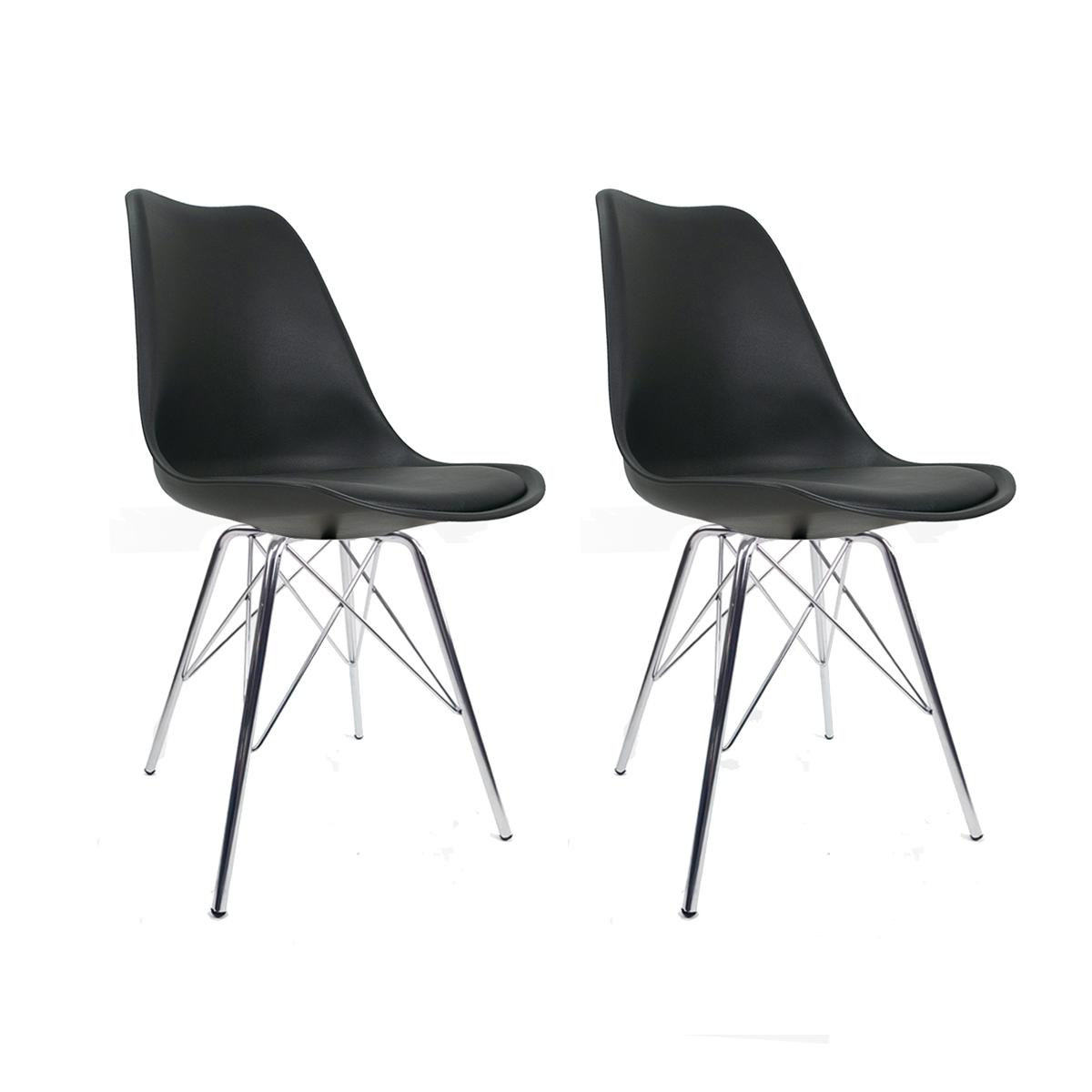 Conjunto com 2 Cadeiras Saarinen Preta - Base Tower Cromado