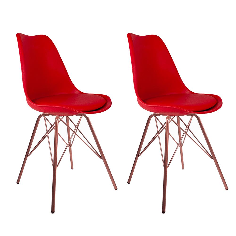 Conjunto com 2 Cadeiras Saarinen Vermelha - Base Tower Cobre