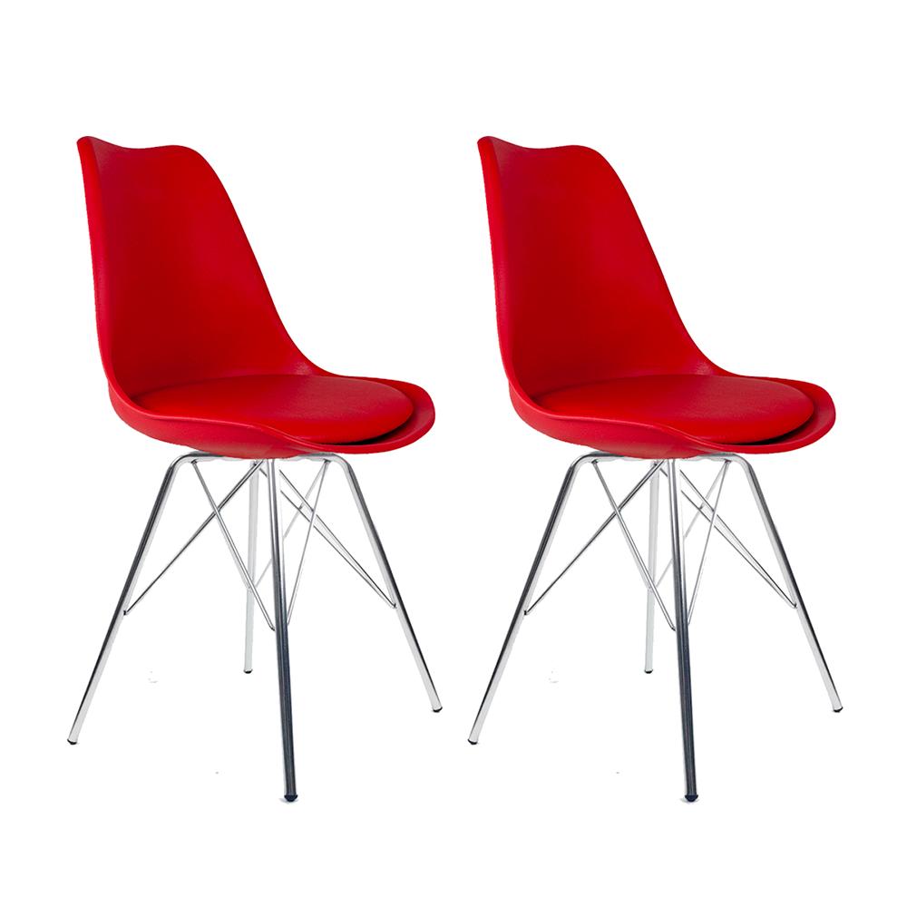 Conjunto com 2 Cadeiras Saarinen Vermelha - Base Tower Cromado