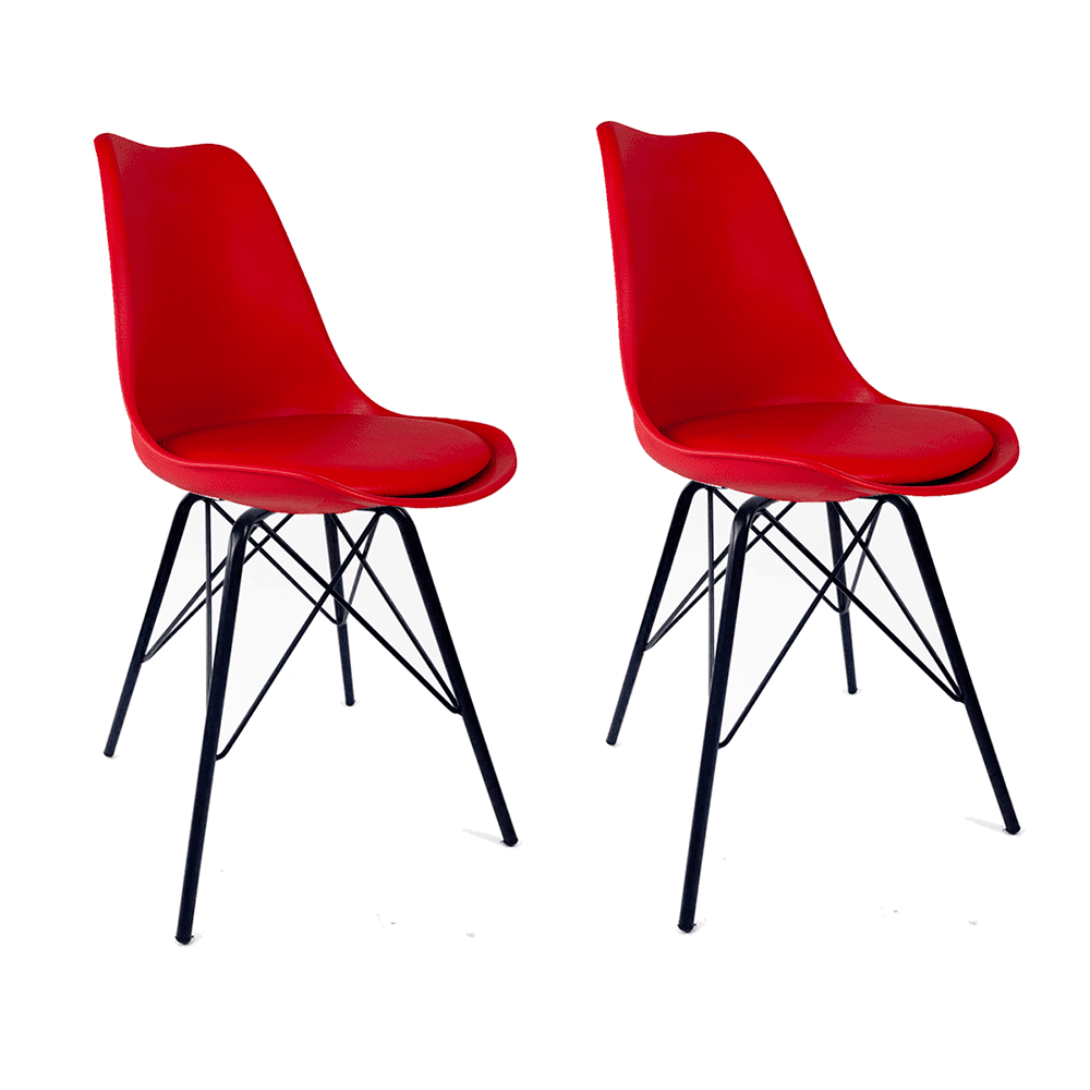 Conjunto com 2 Cadeiras Saarinen Vermelha - Base Tower Preto