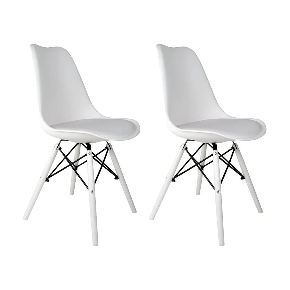 Conjunto com 2 Cadeiras Saarinen White Edition - Base Branca
