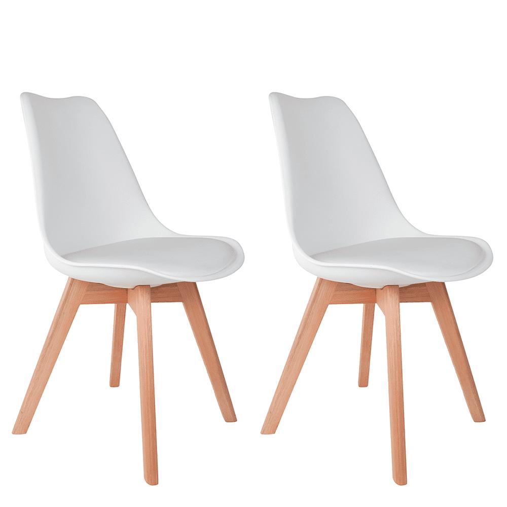Conjunto com 2 Cadeiras Saarinen Branca - Base Wood