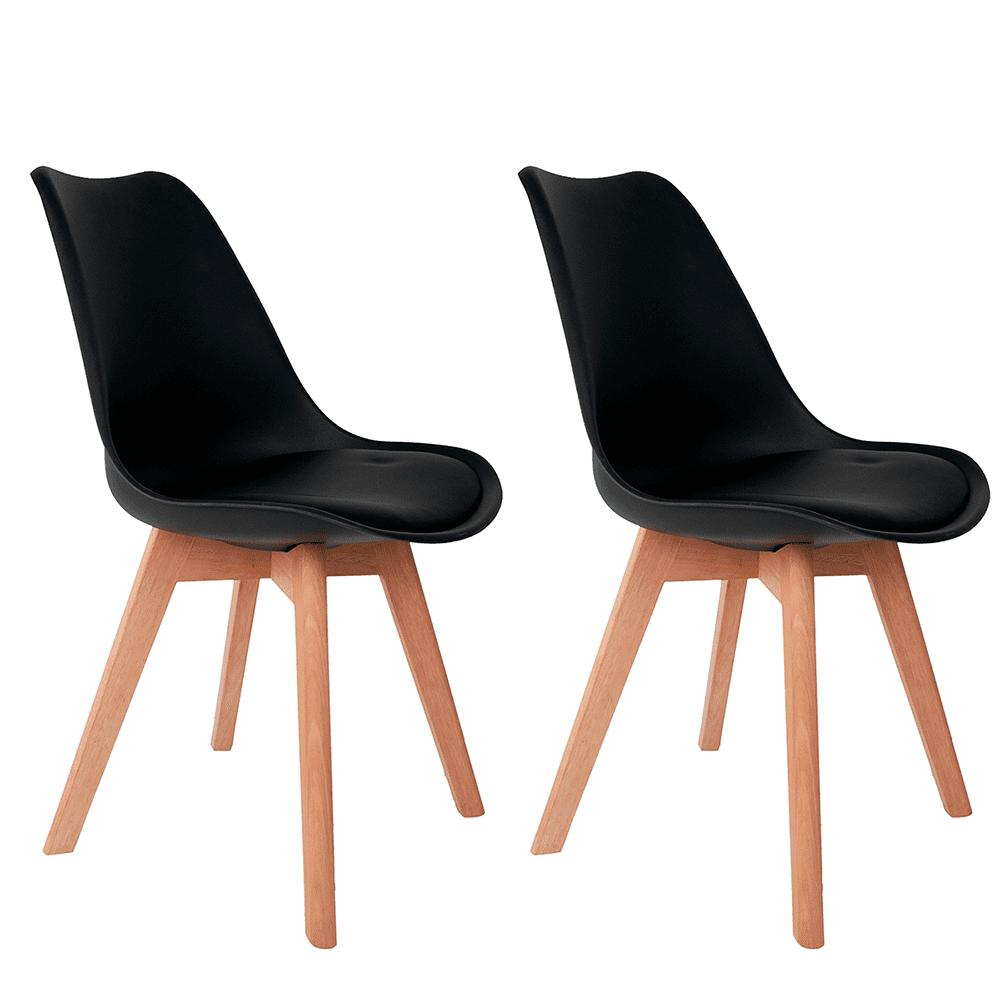Conjunto com 2 Cadeiras Saarinen Preta - Base Wood