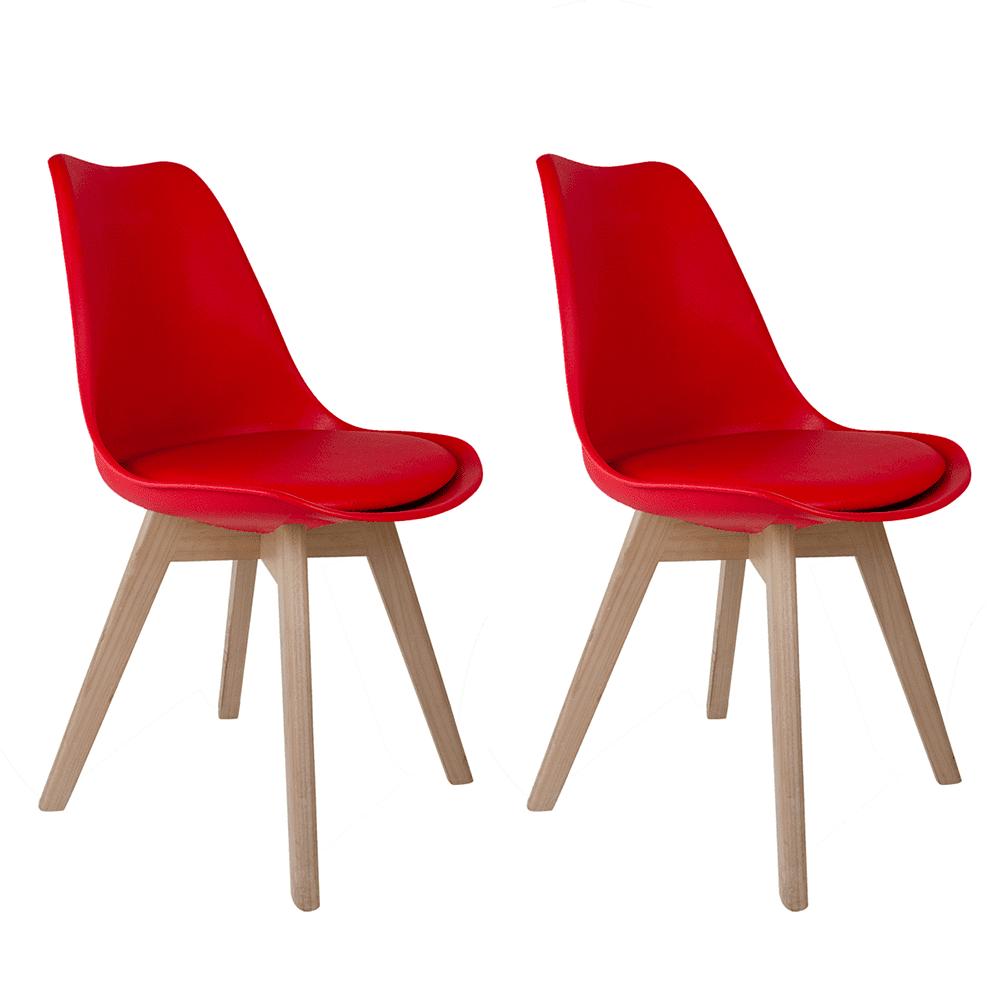 Conjunto com 2 Cadeiras Saarinen Vermelha - Base Wood