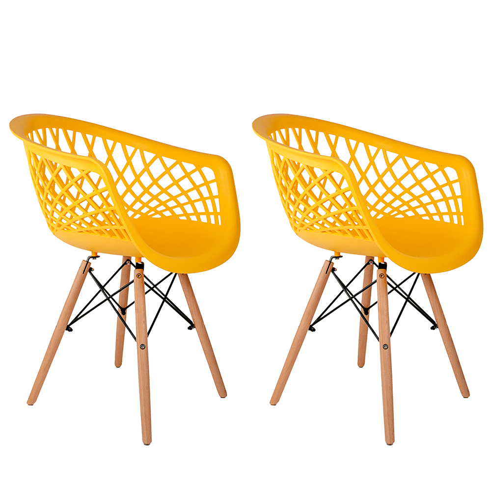 Conjunto com 2 Cadeiras Web Amarela - Base Madeira Natural