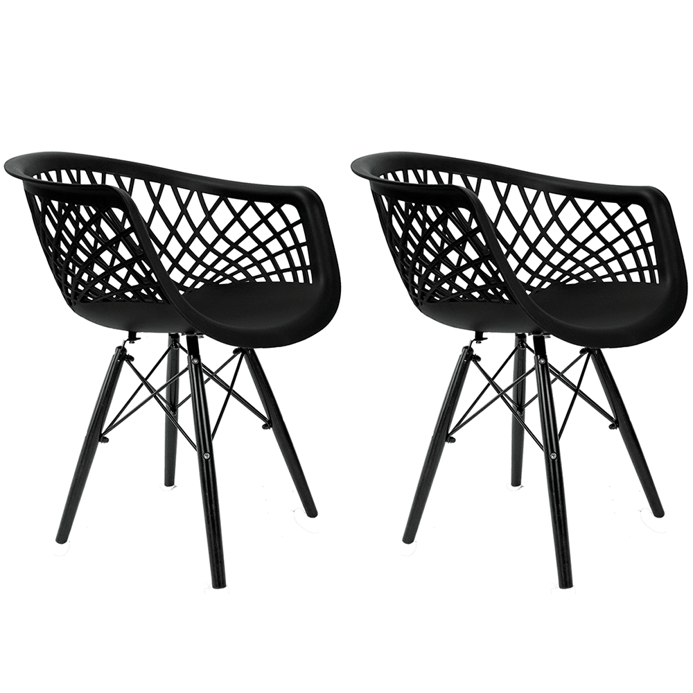 Conjunto com 2 Cadeiras Web Black Edition - Base Preta