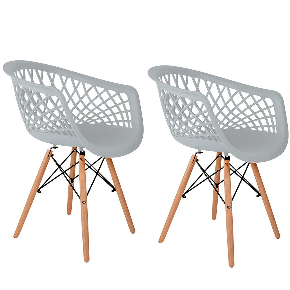 Conjunto com 2 Cadeiras Web Branca - Base Madeira Natural