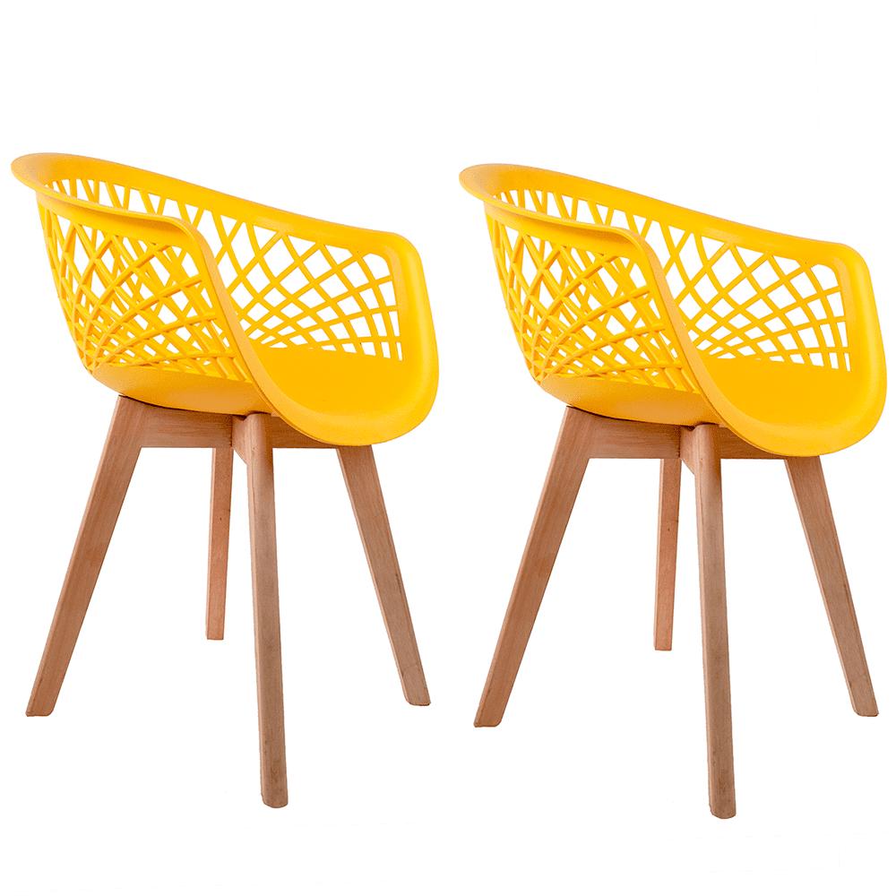 Conjunto com 2 Cadeiras Web Amarela - Base Wood