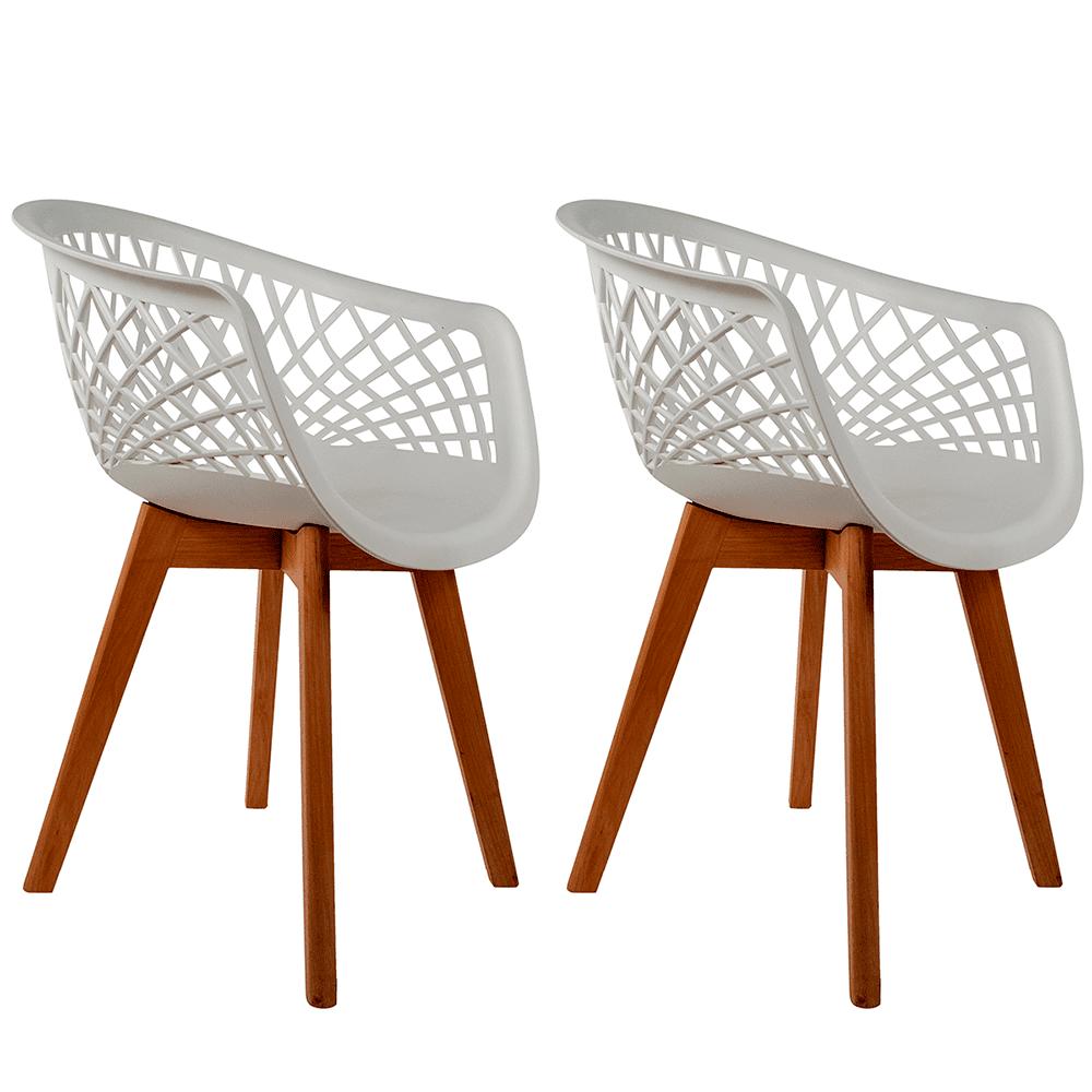 Conjunto com 2 Cadeiras Web Branca - Base Wood