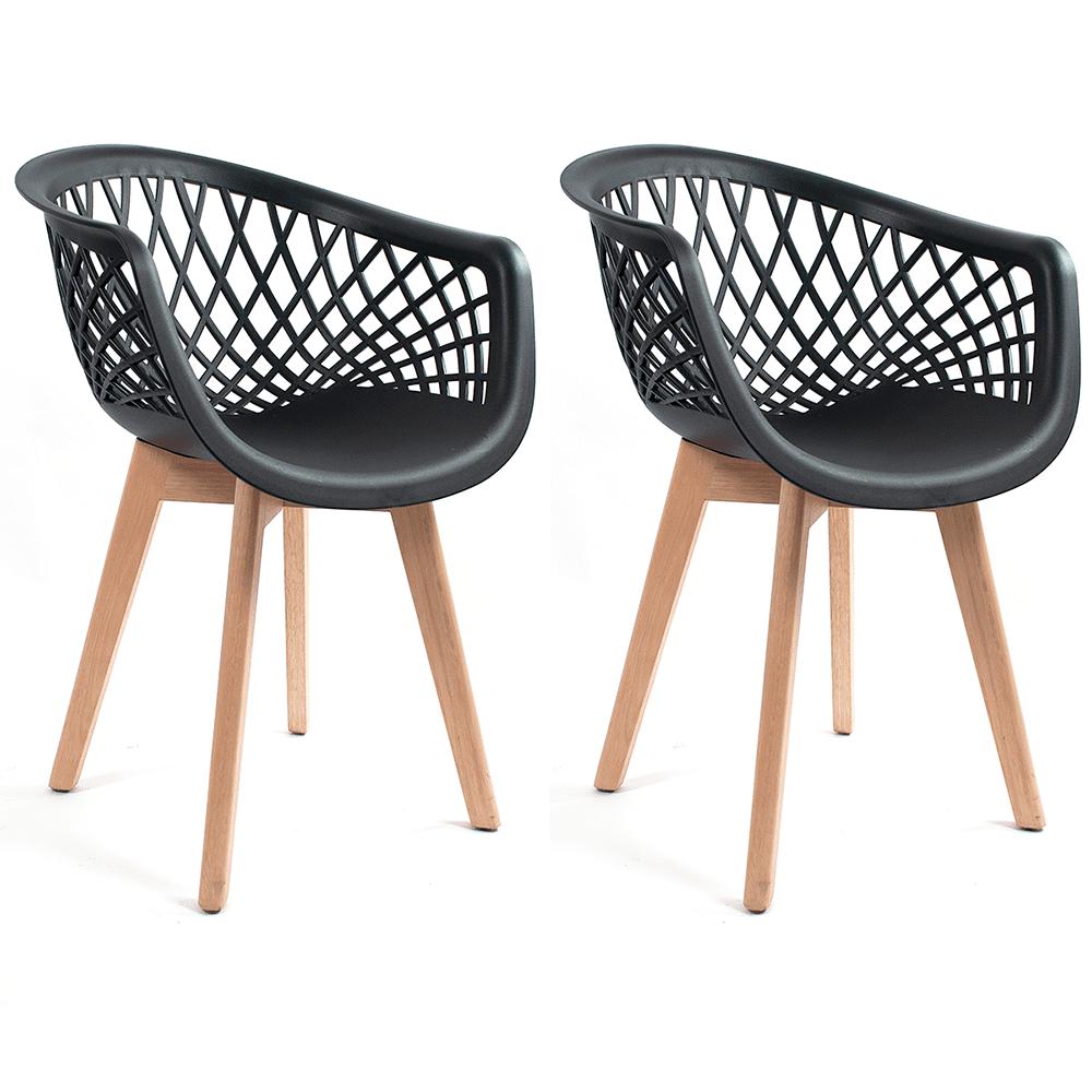 Conjunto com 2 Cadeiras Web Preta - Base Wood