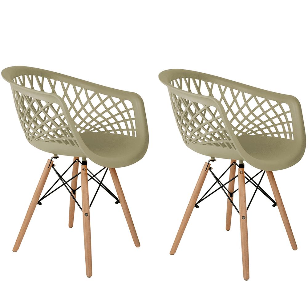 Conjunto com 2 Cadeiras Web Fendi - Base Madeira Natural