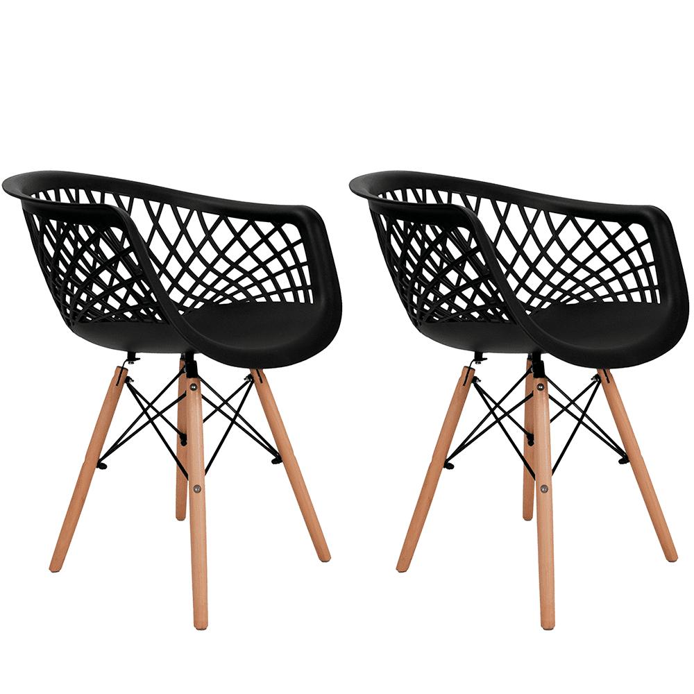 Conjunto com 2 Cadeiras Web Preta - Base Madeira Natural