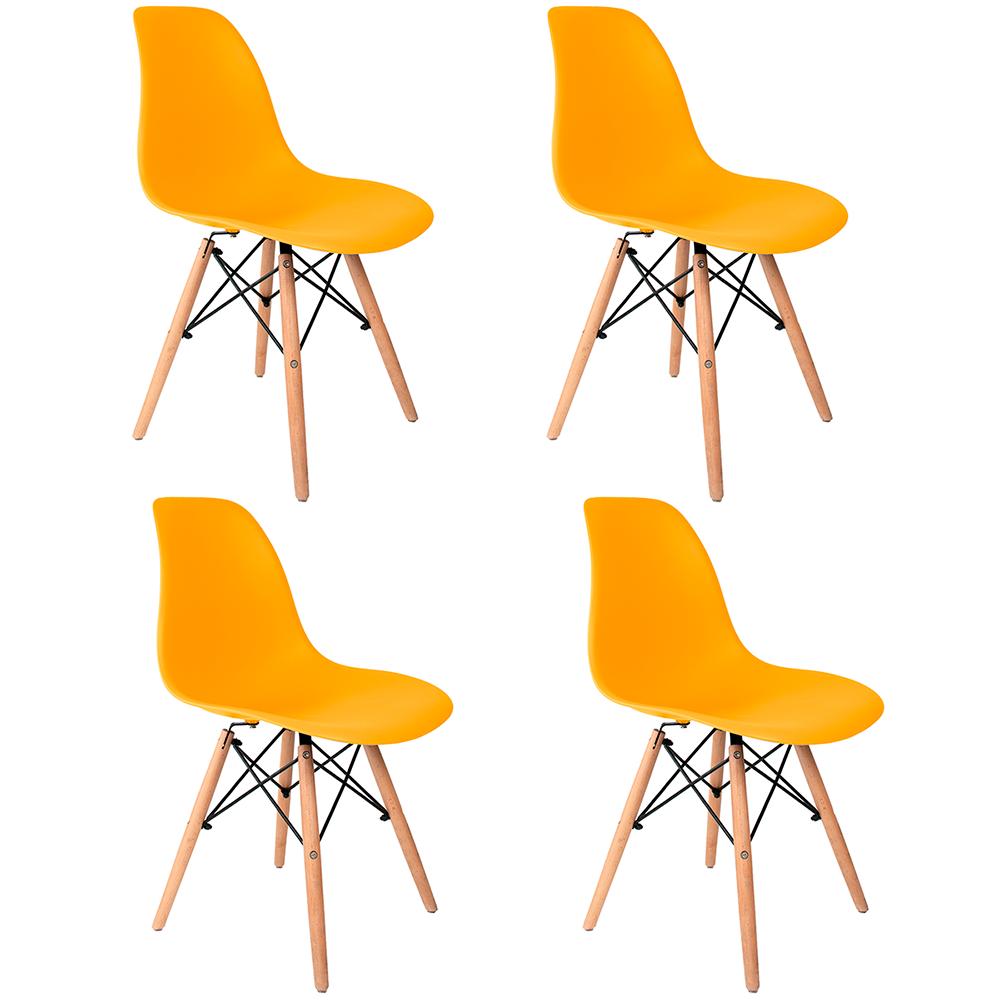 Conjunto com 4 Cadeiras Eames Amarela - Base Madeira Natural