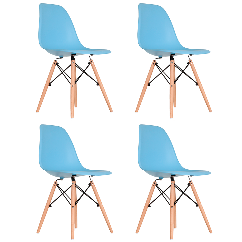 Conjunto com 4 Cadeiras Eames Azul - Base Madeira Natural