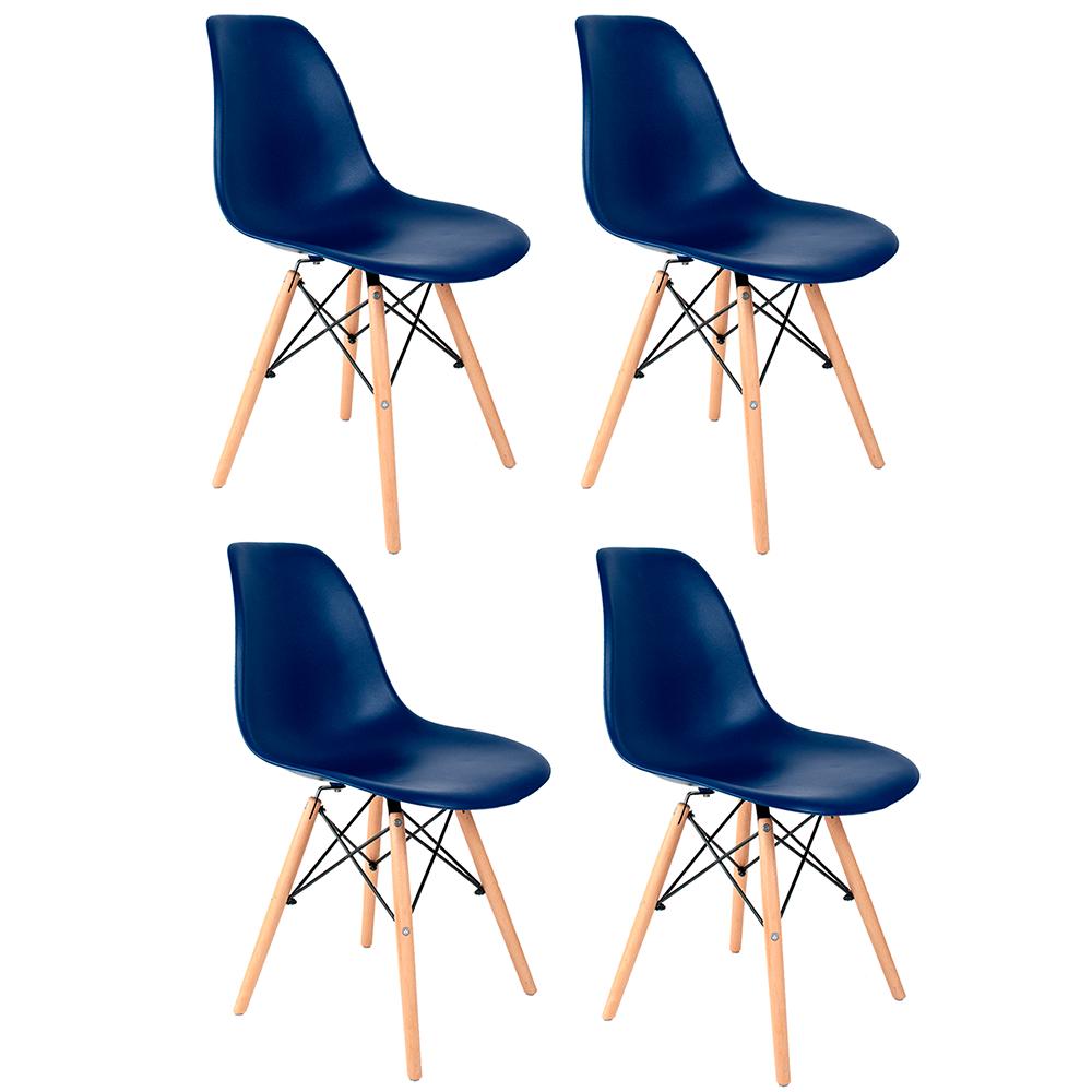 Conjunto com 4 Cadeiras Eames Azul Bic - Base Madeira Natural